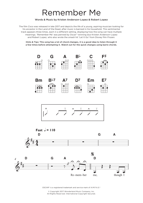 Remember Me (Ernesto de la Cruz) (from Coco) Sheet Music