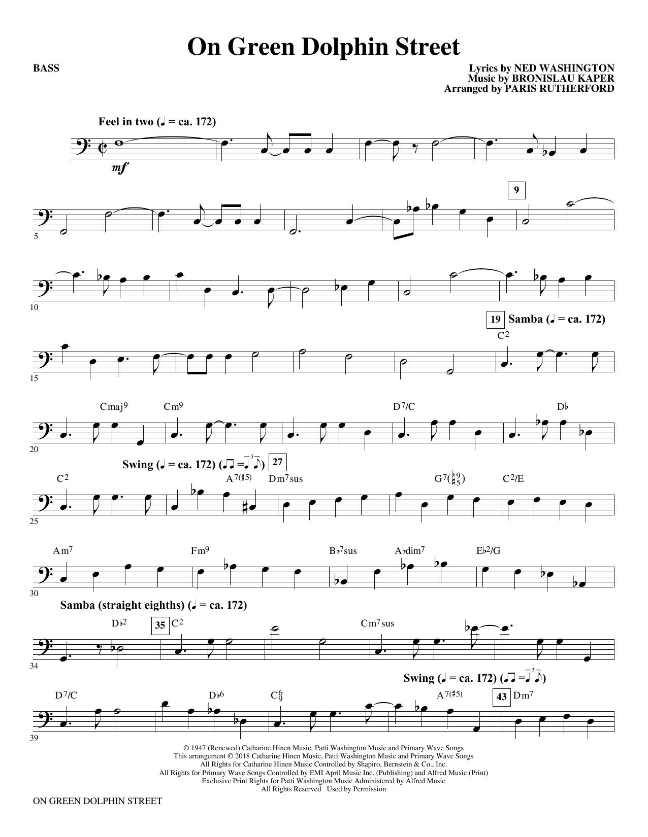 On Green Dolphin Street - Bass (Choir Instrumental Pak)