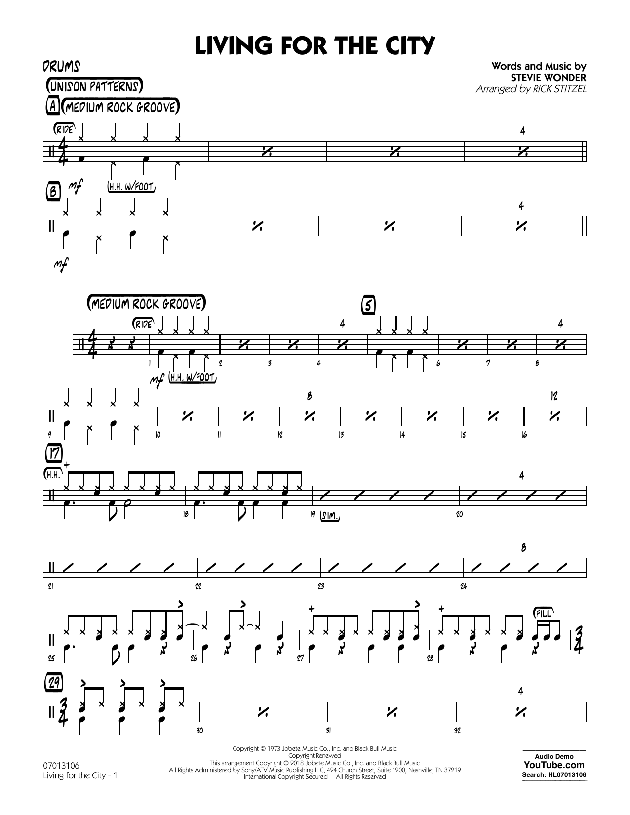Living for the City - Drums (Jazz Ensemble)