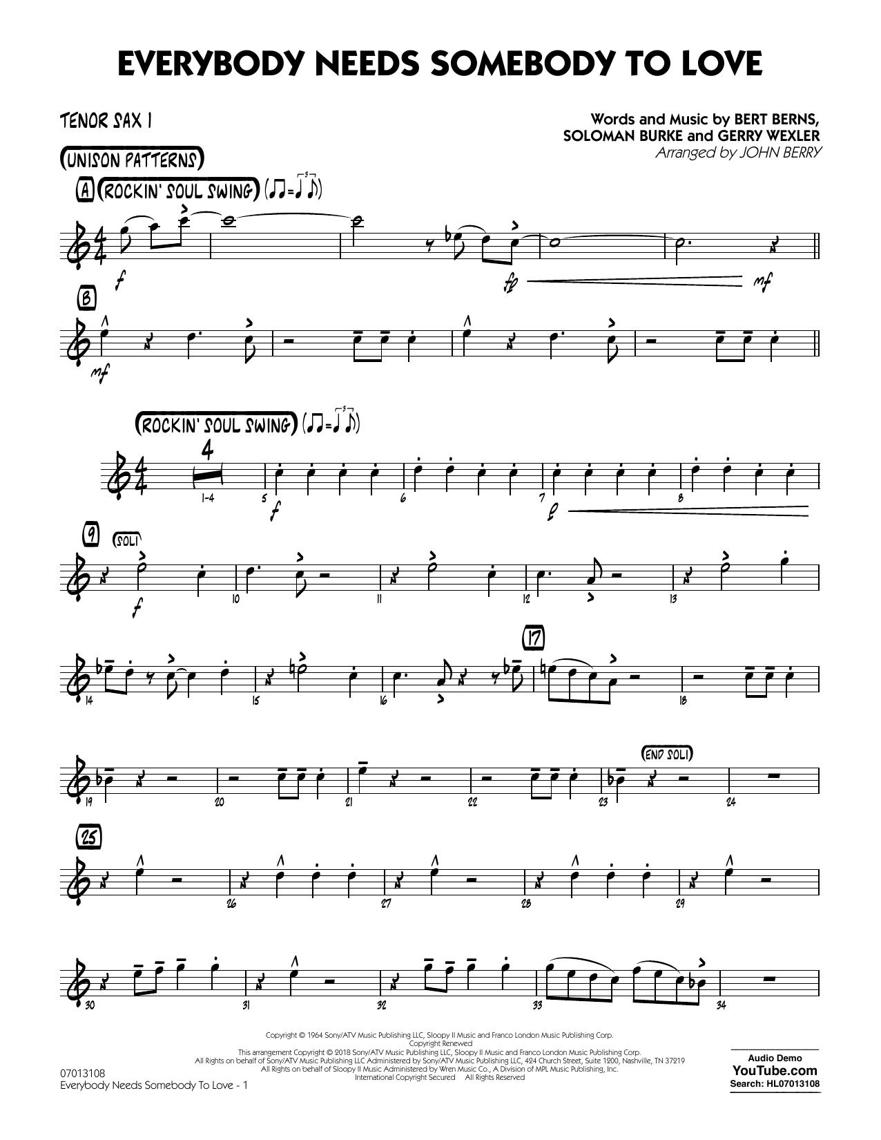 Everybody Needs Somebody to Love - Tenor Sax 1 by Bert Berns, Gerry Wexler,  Soloman Burke - Hal Leonard - Prima Music