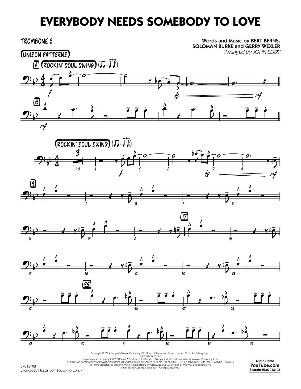 Everybody Needs Somebody to Love - Trombone 2 Partituras Digitales