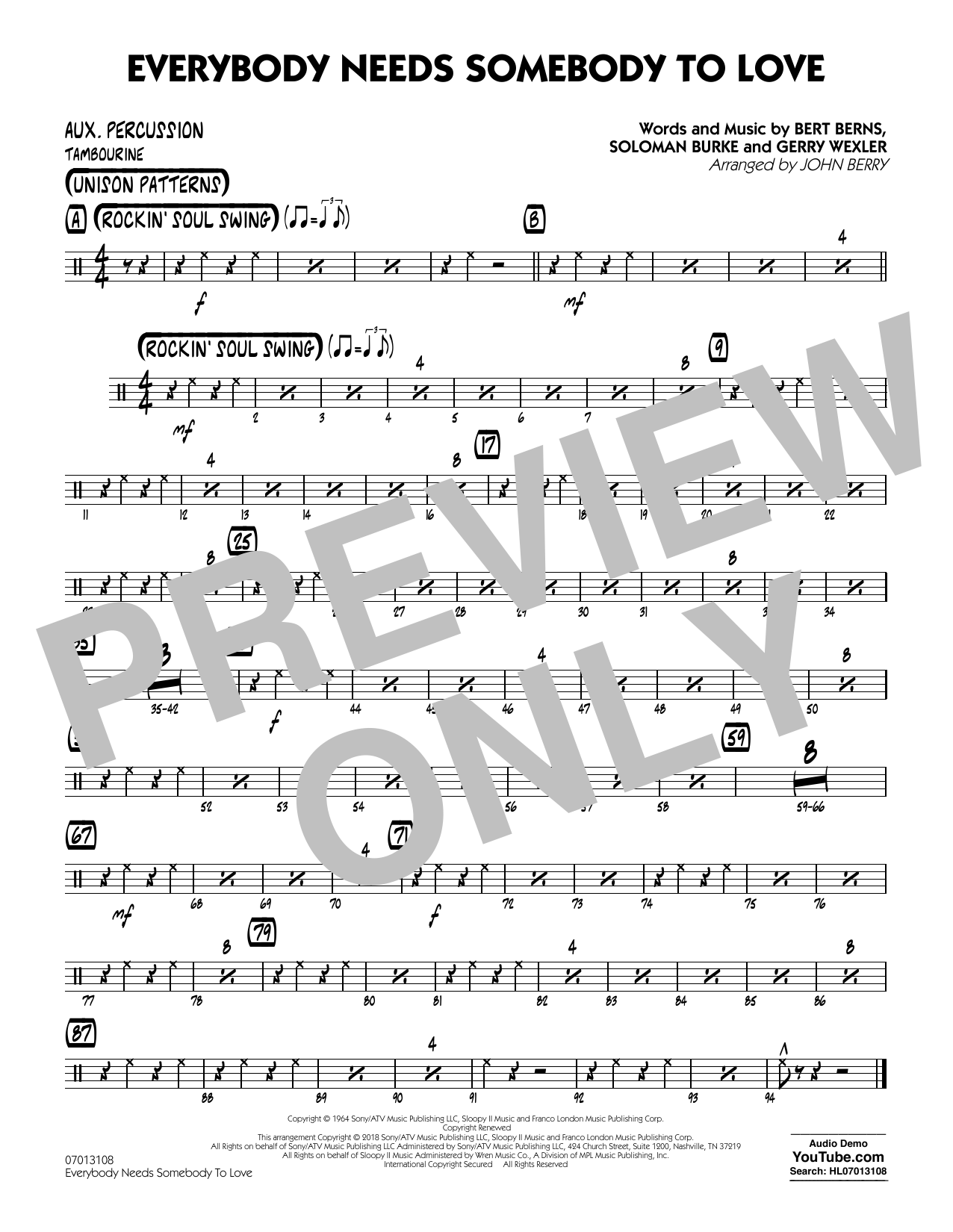 Everybody Needs Somebody to Love - Aux Percussion Partituras Digitales