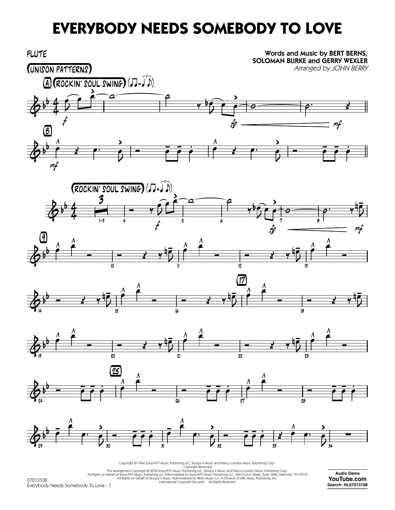 Everybody Needs Somebody to Love - Flute Partituras Digitales