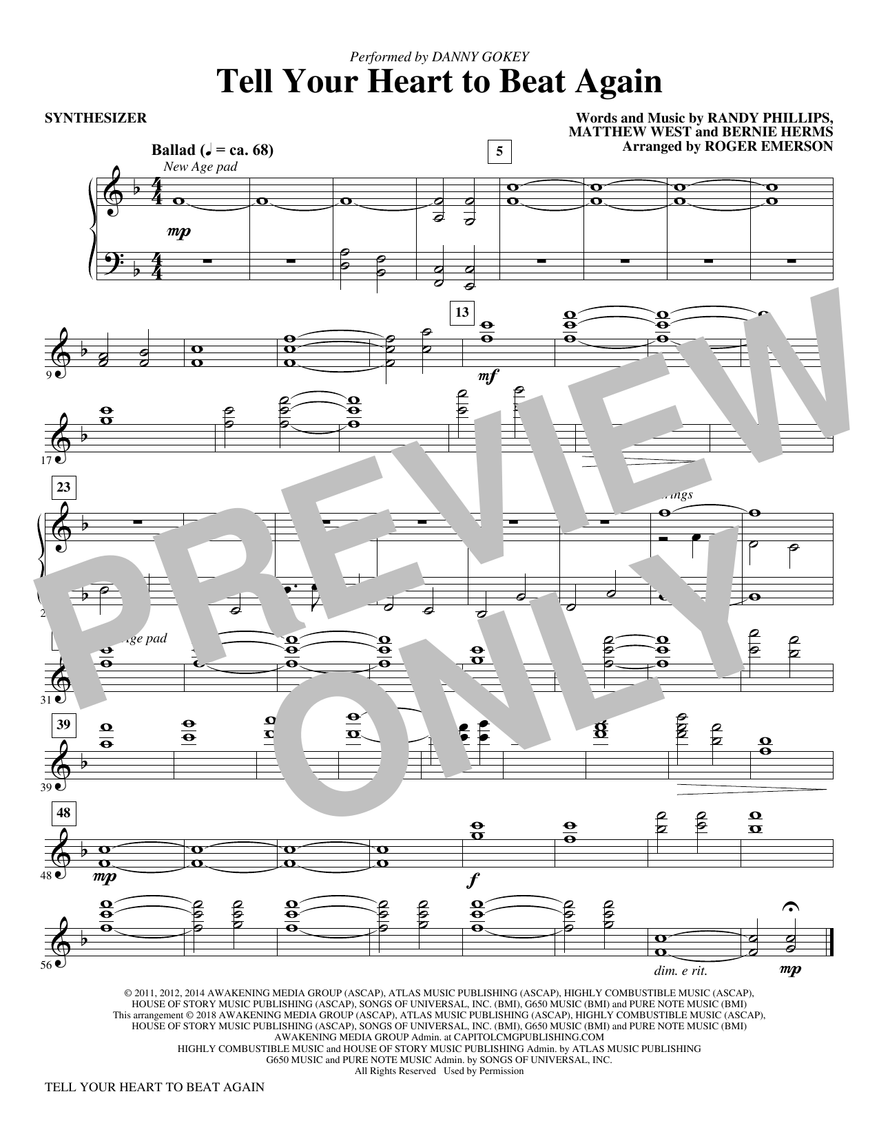 Tell Your Heart to Beat Again - Synthesizer (Choir Instrumental Pak)