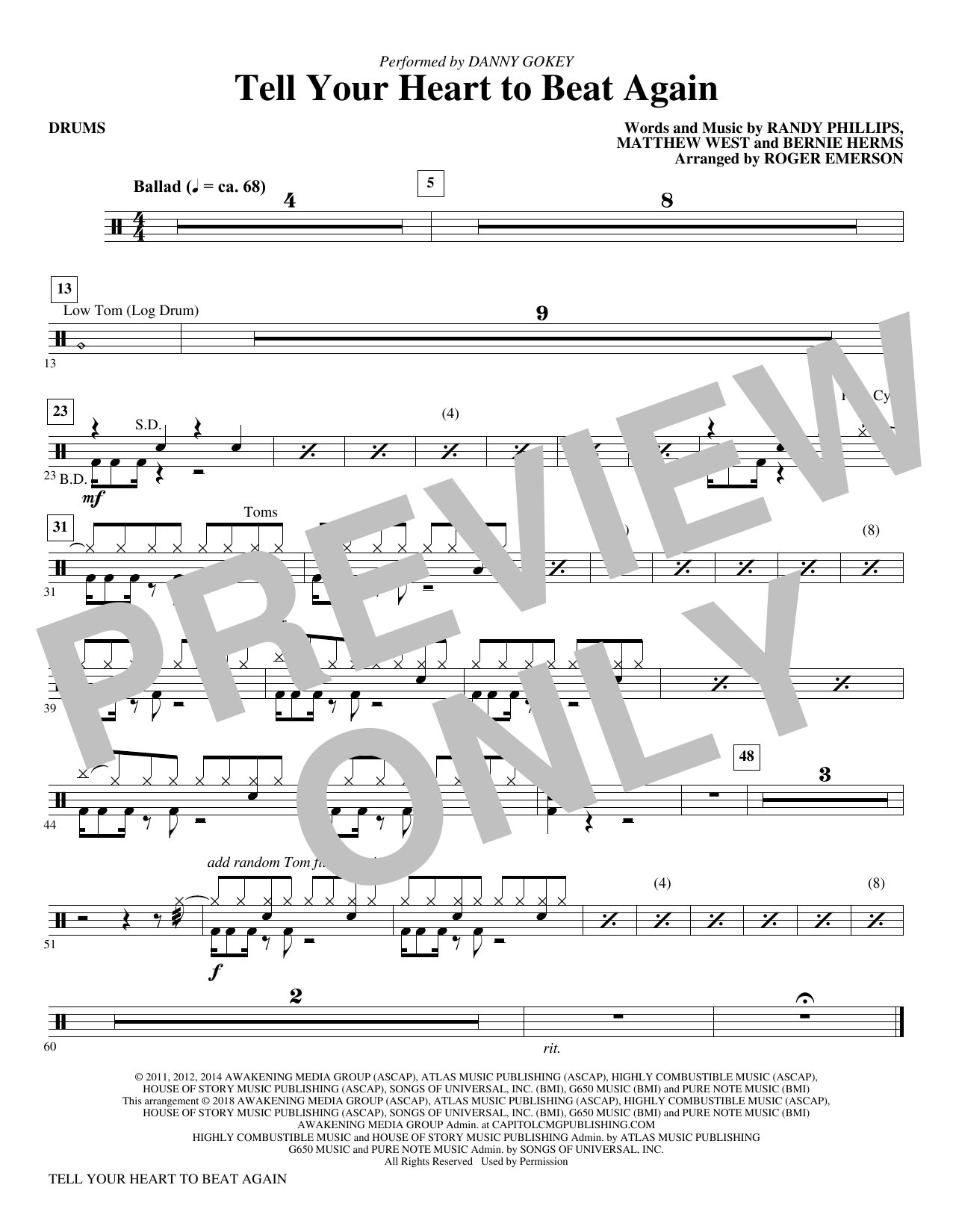 Tell Your Heart to Beat Again - Drums (Choir Instrumental Pak)