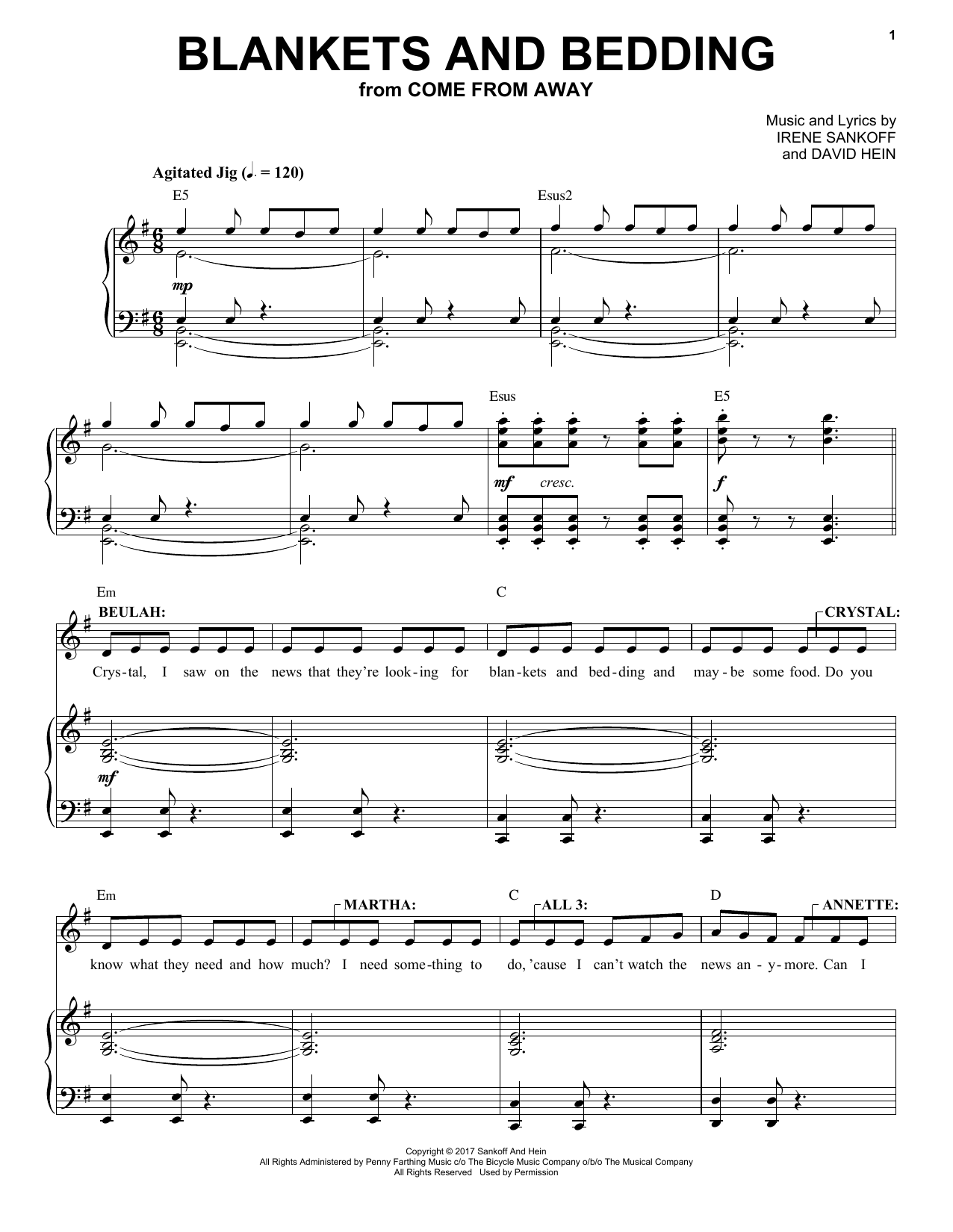 Blankets And Bedding (from Come from Away) (Piano & Vocal)