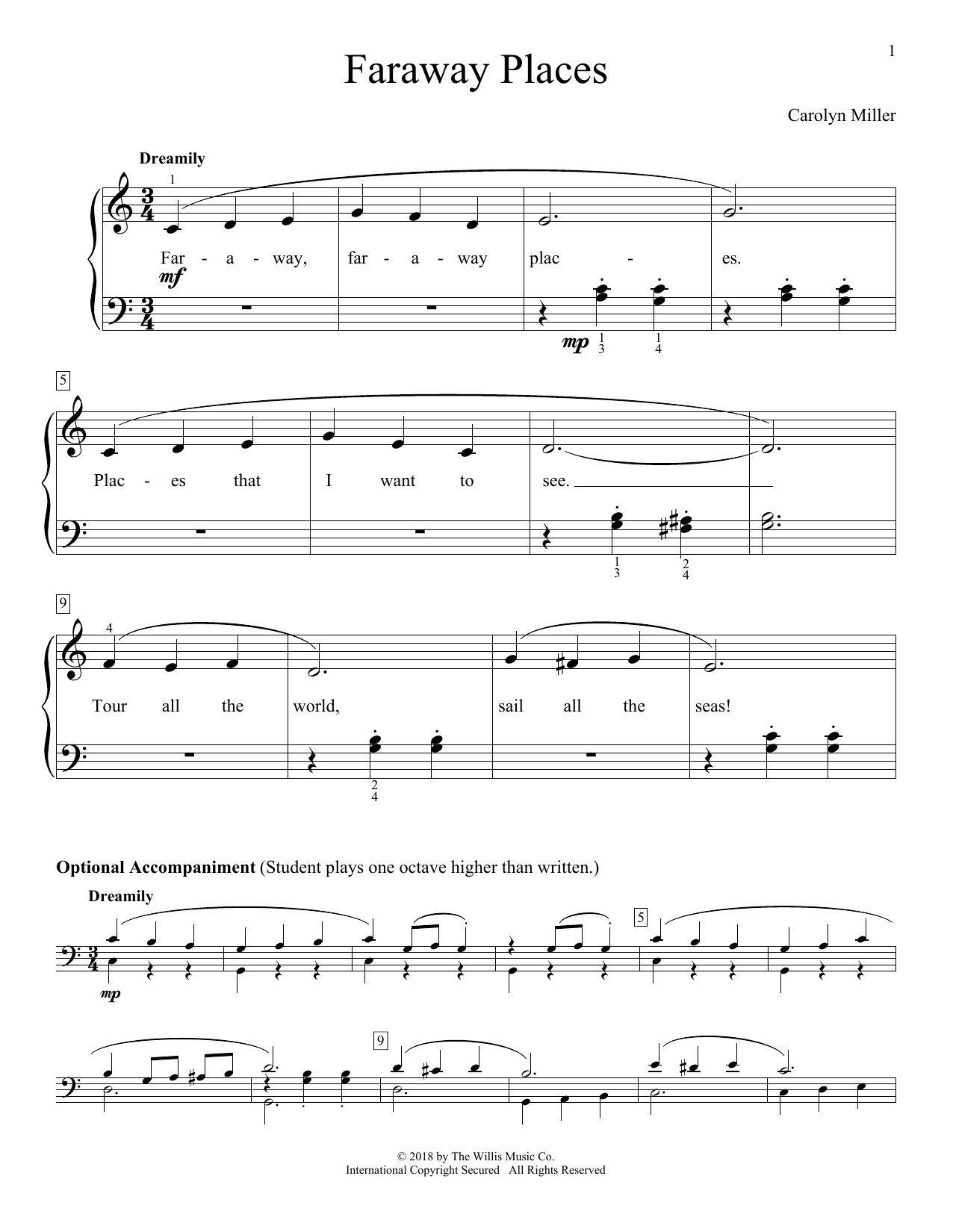 Faraway Places Sheet Music