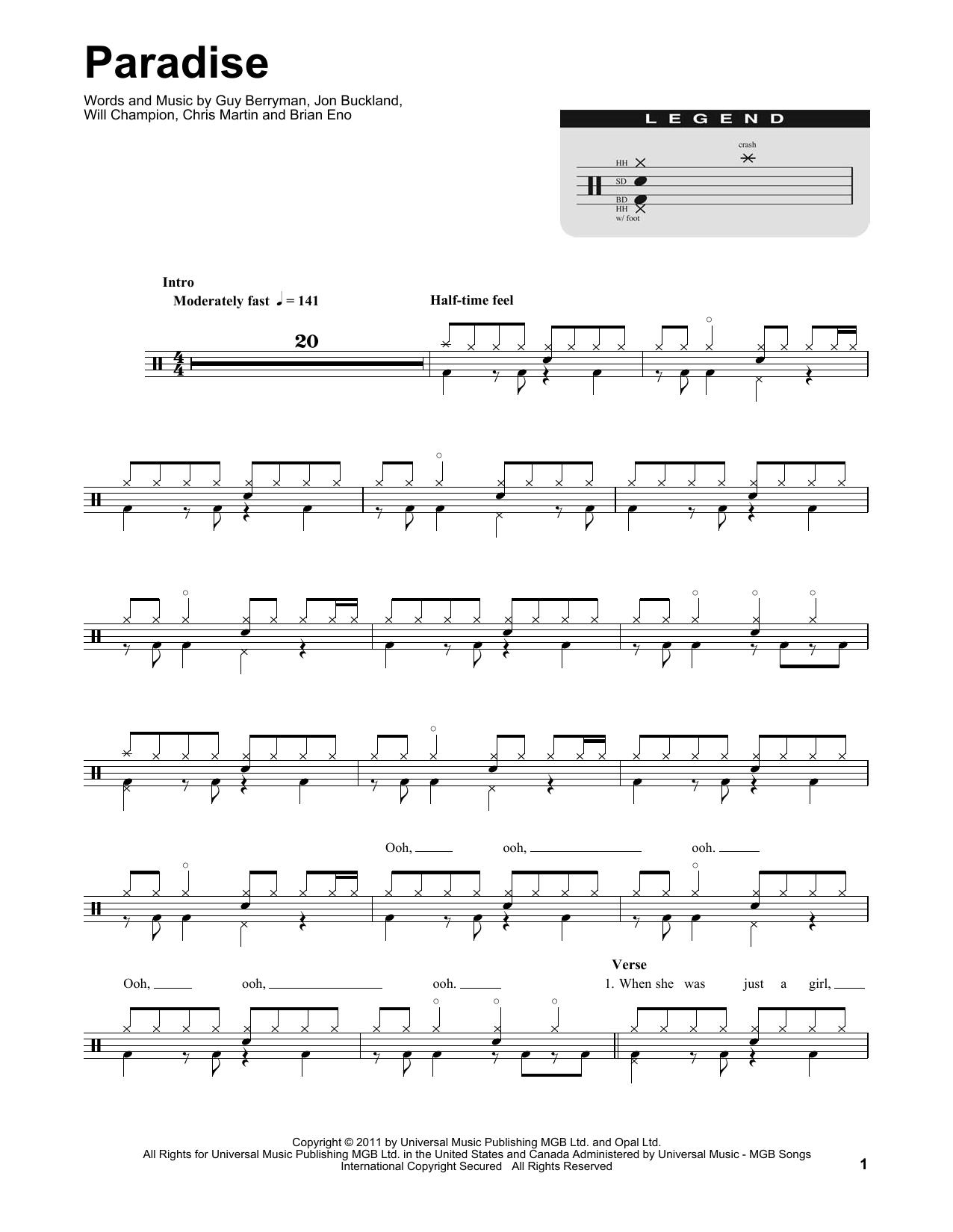 Paradise (Drums Transcription)