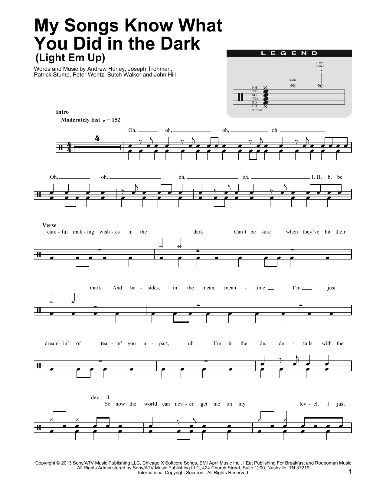 My Songs Know What You Did In The Dark (Light Em Up) (Drums Transcription)