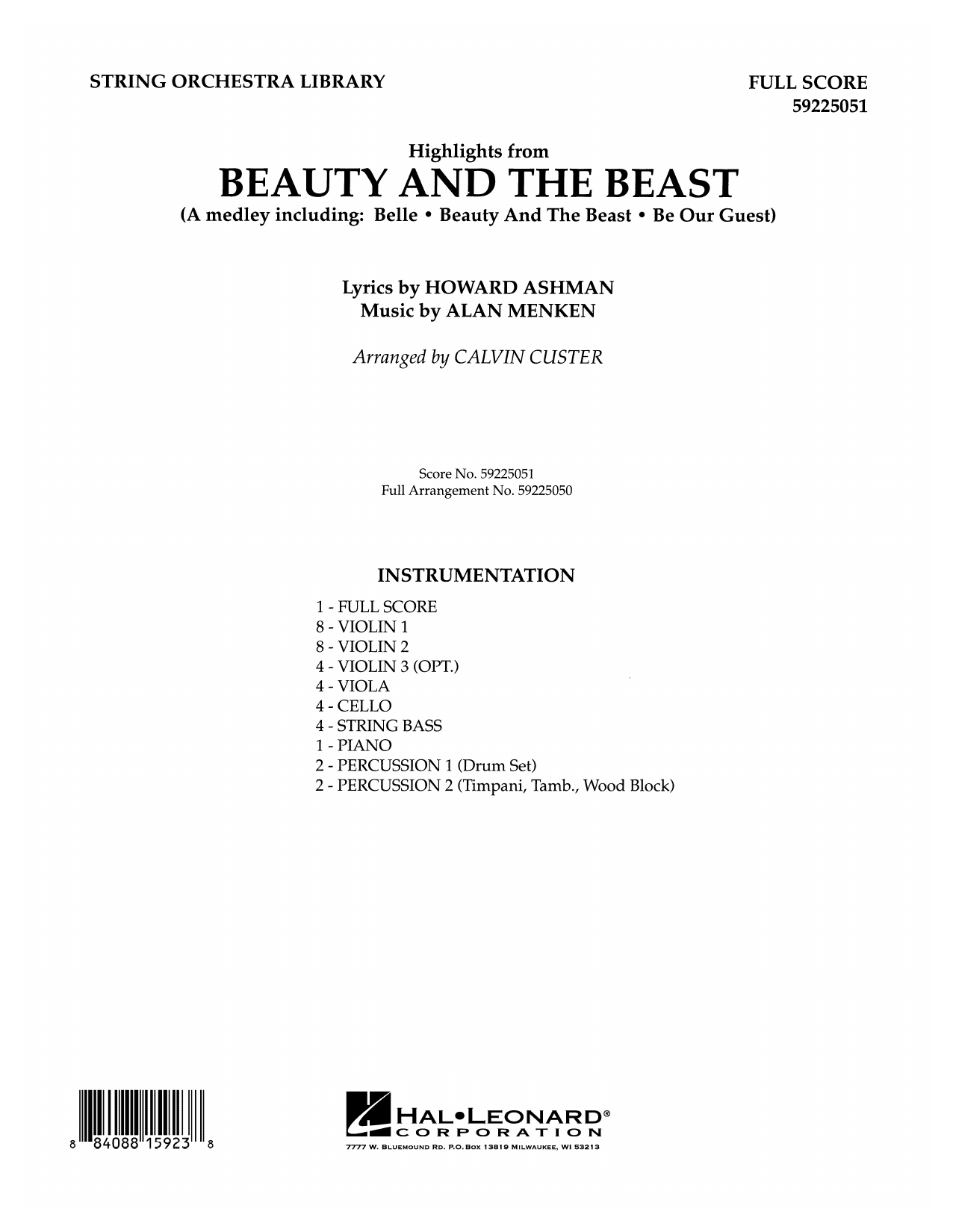 Beauty and the Beast Highlights (arr. Calvin Custer) - Full Score (Orchestra)