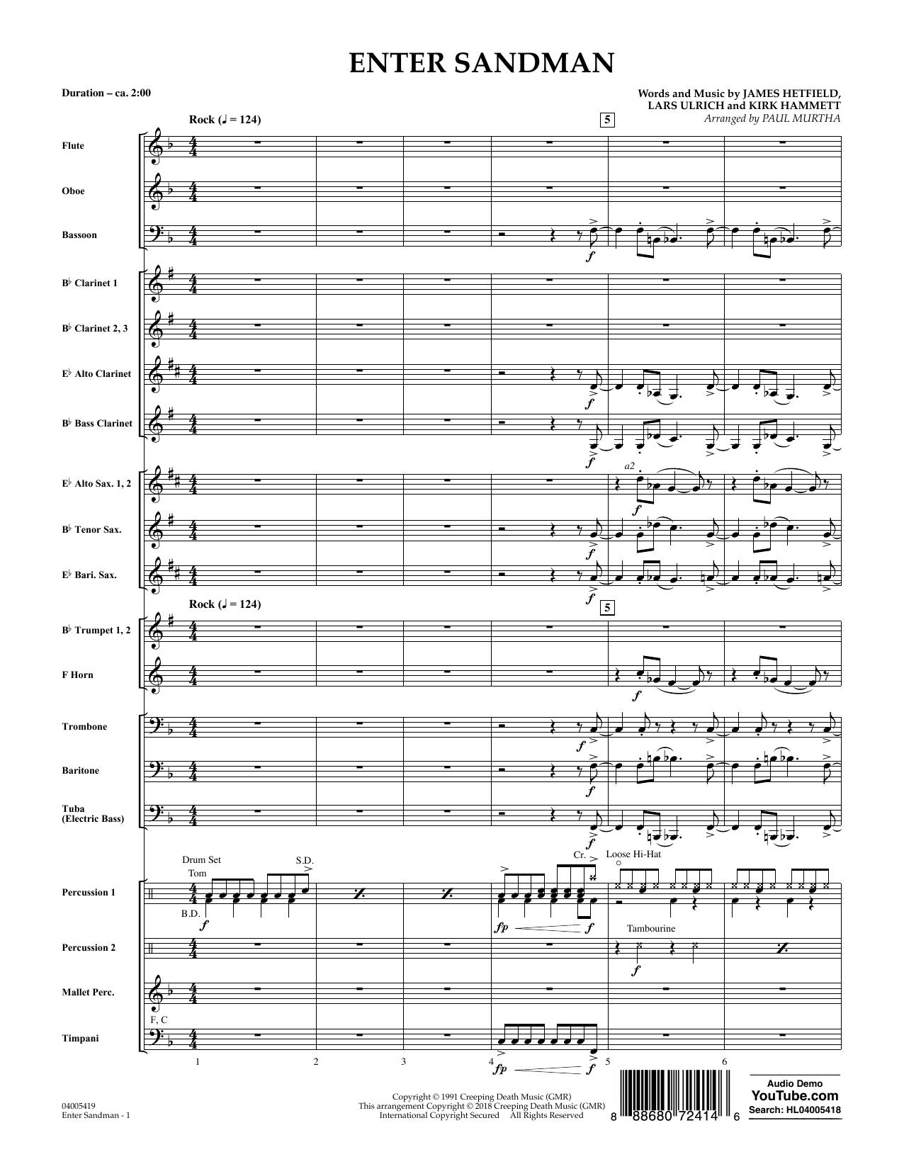 Enter Sandman - Conductor Score (Full Score) (Concert Band)