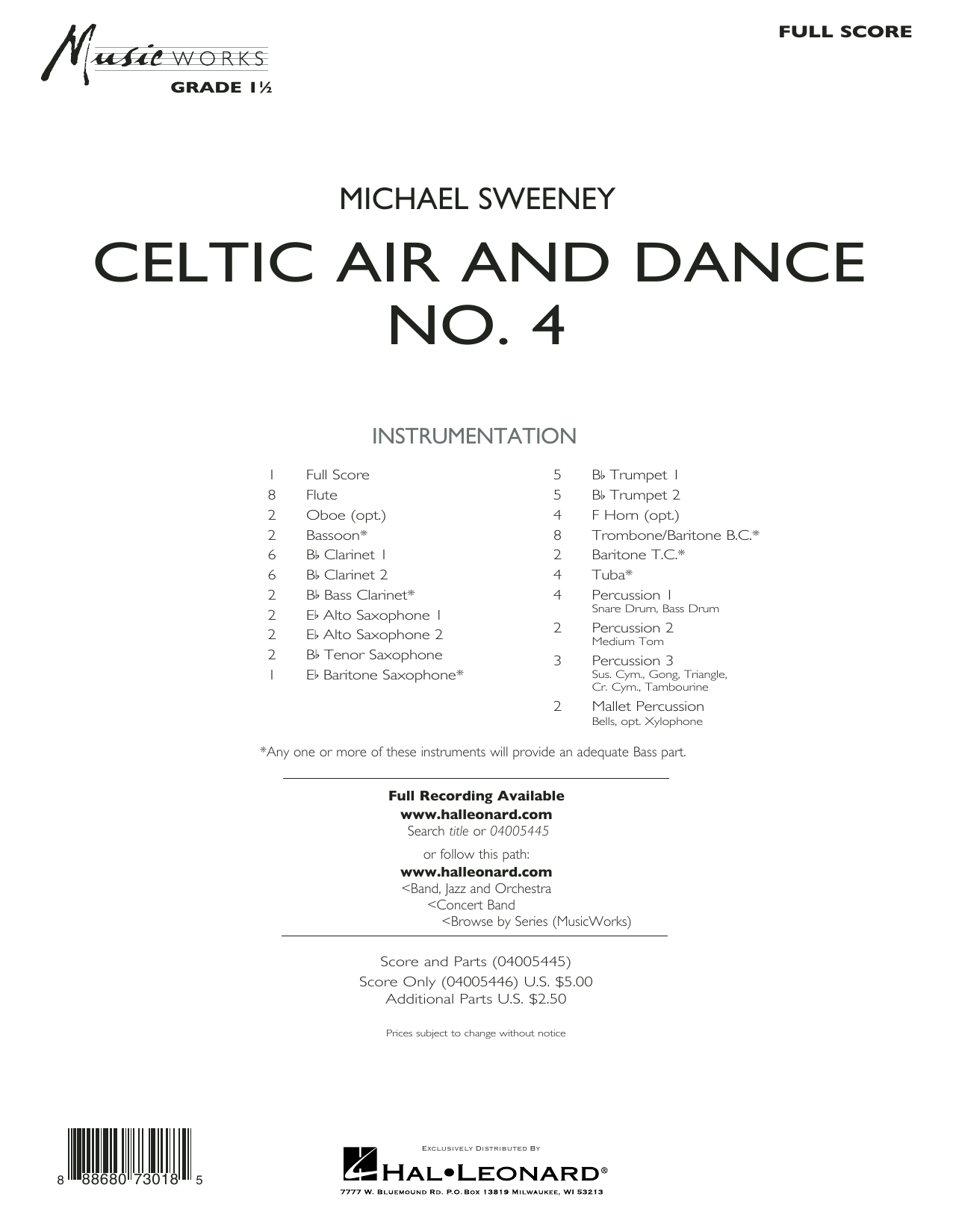 Celtic Air and Dance No. 4 - Conductor Score (Full Score) (Concert Band)