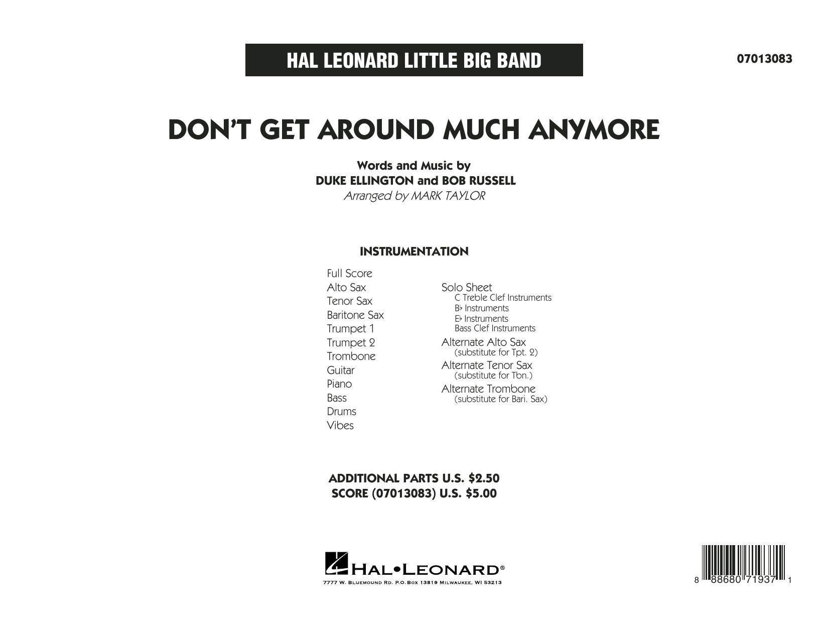 Don't Get Around Much Anymore - Full Score (Jazz Ensemble)
