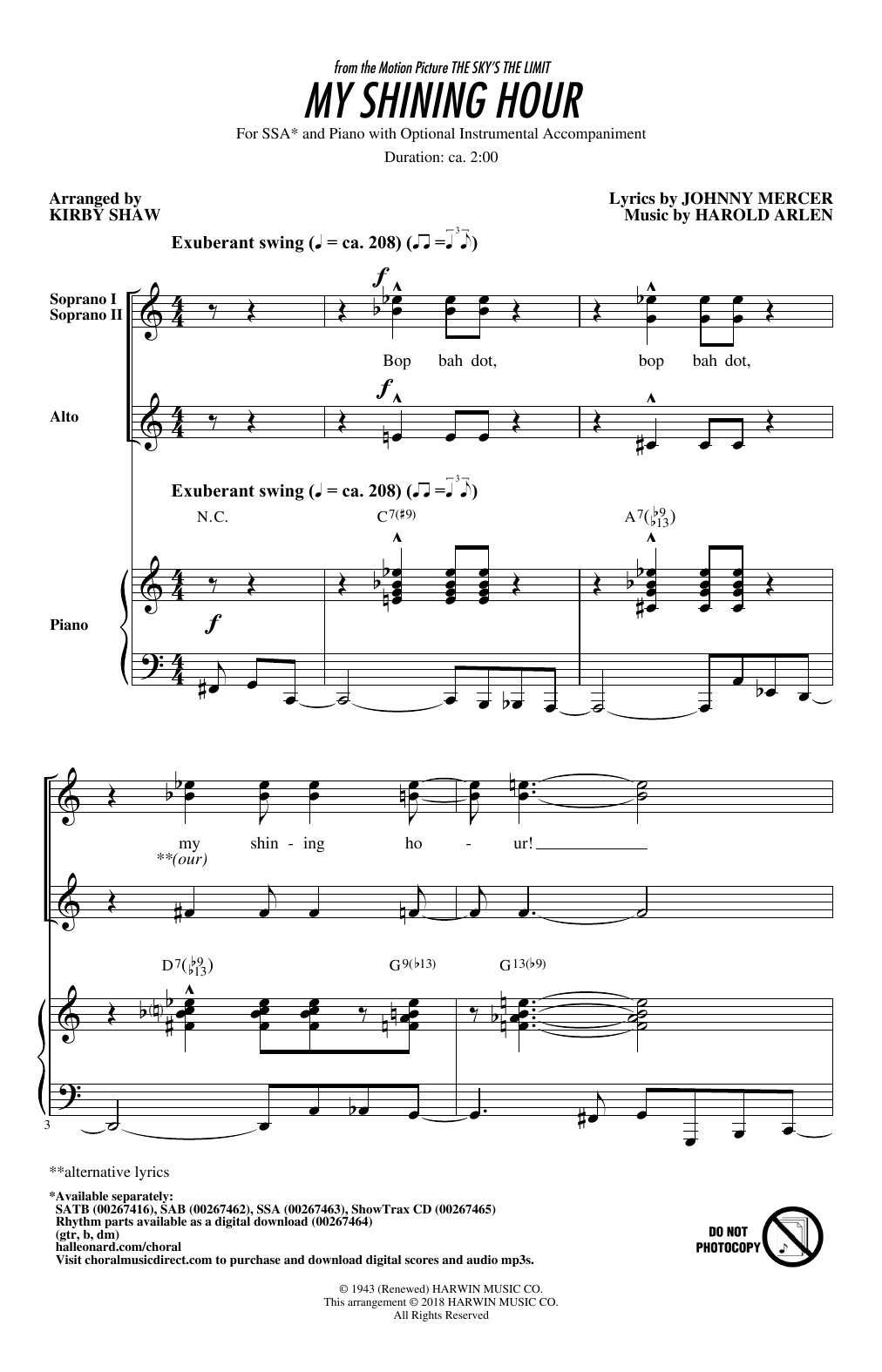 My Shining Hour Sheet Music
