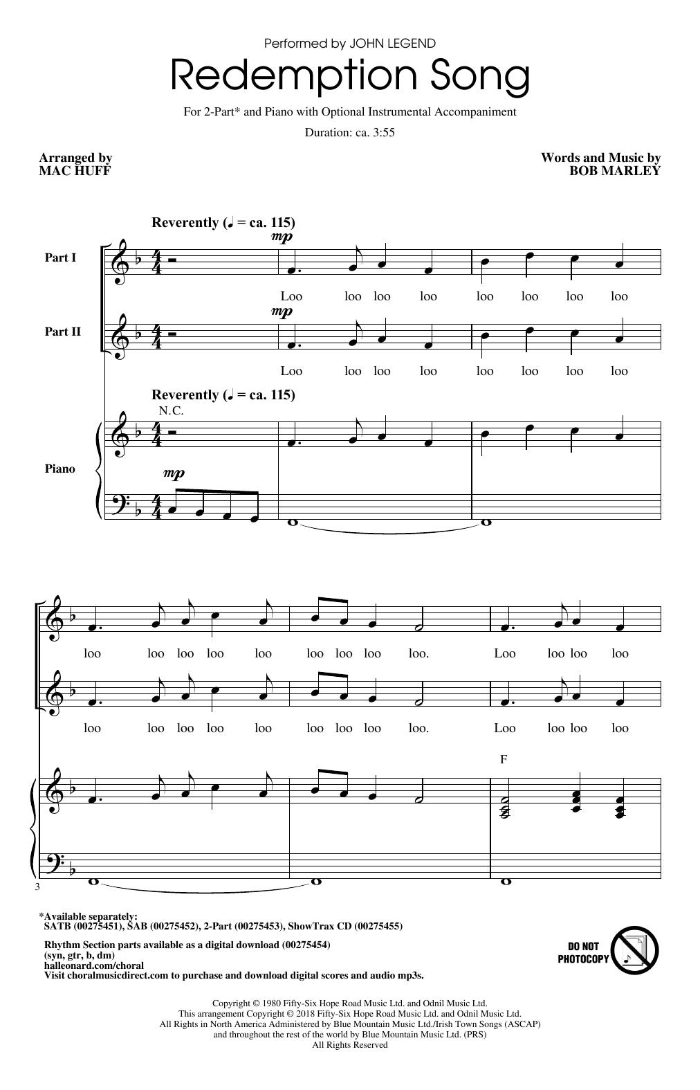 Redemption Song Sheet Music