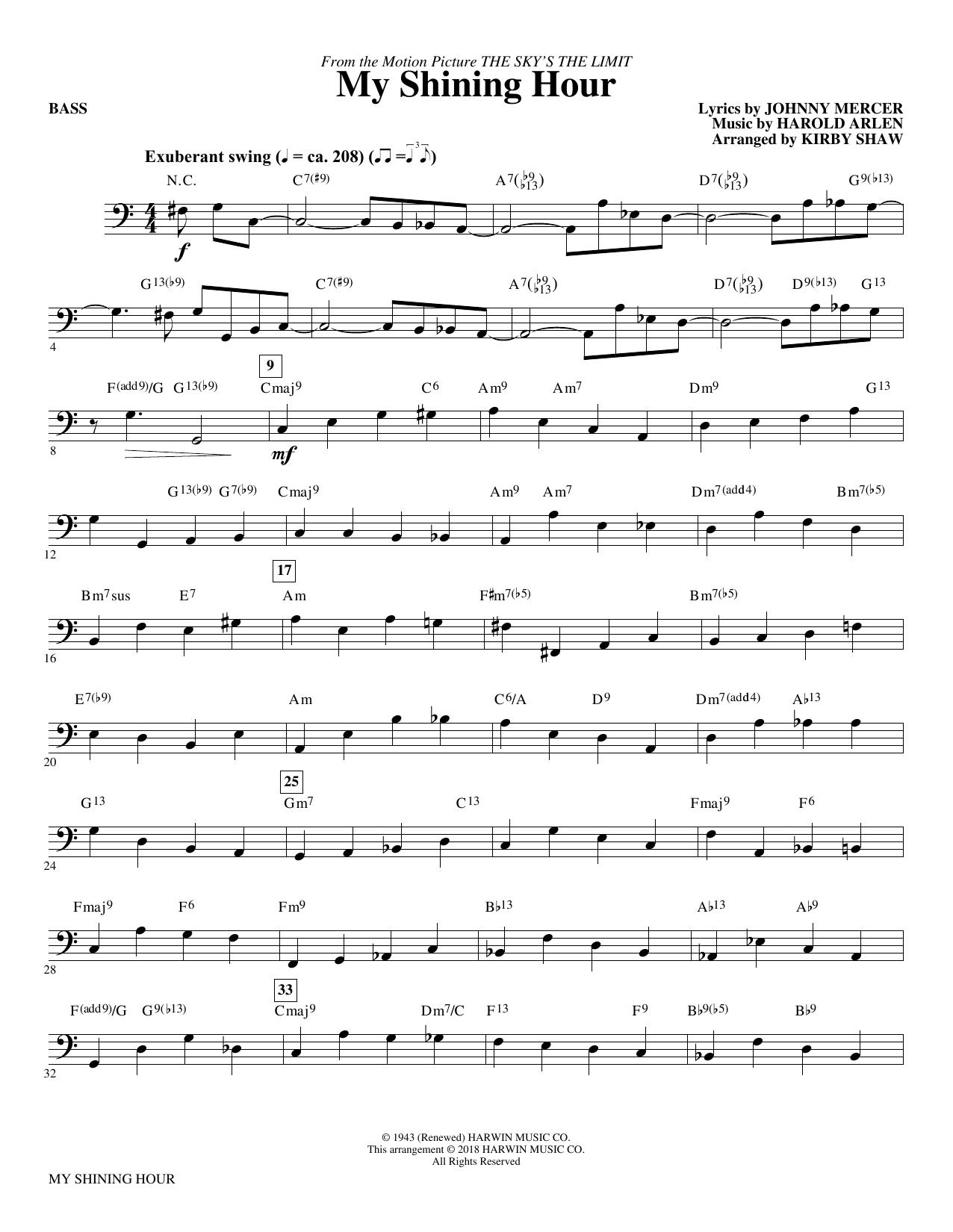 My Shining Hour - Bass (Choir Instrumental Pak)