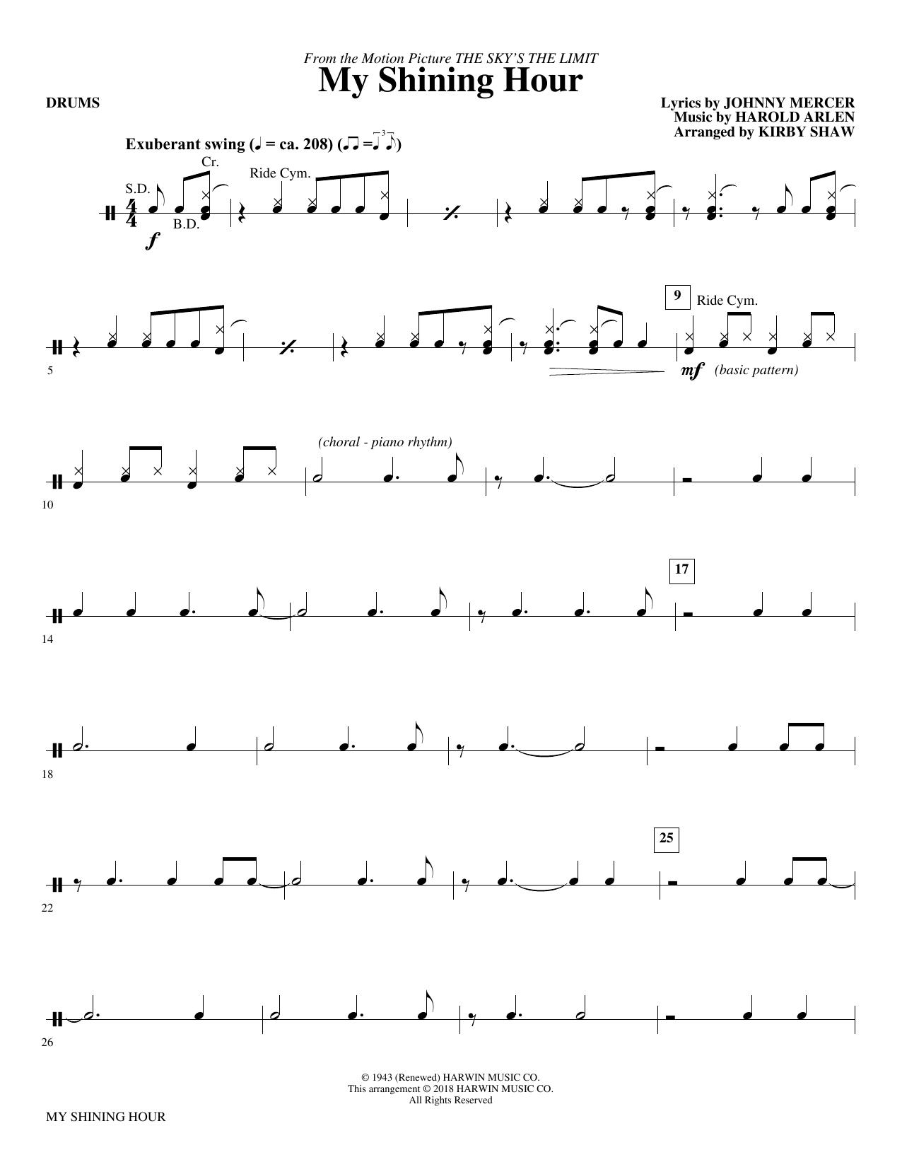 My Shining Hour - Drums (Choir Instrumental Pak)