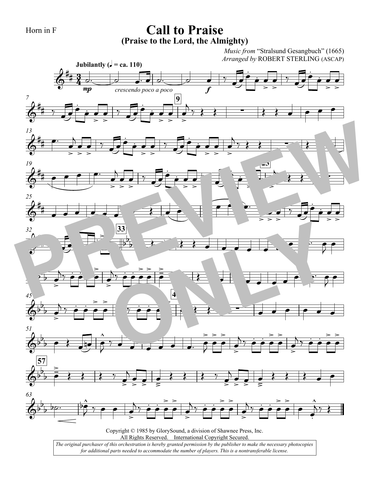 Call To Praise (Praise To The Lord, The Almighty) - F Horn (Choir Instrumental Pak)