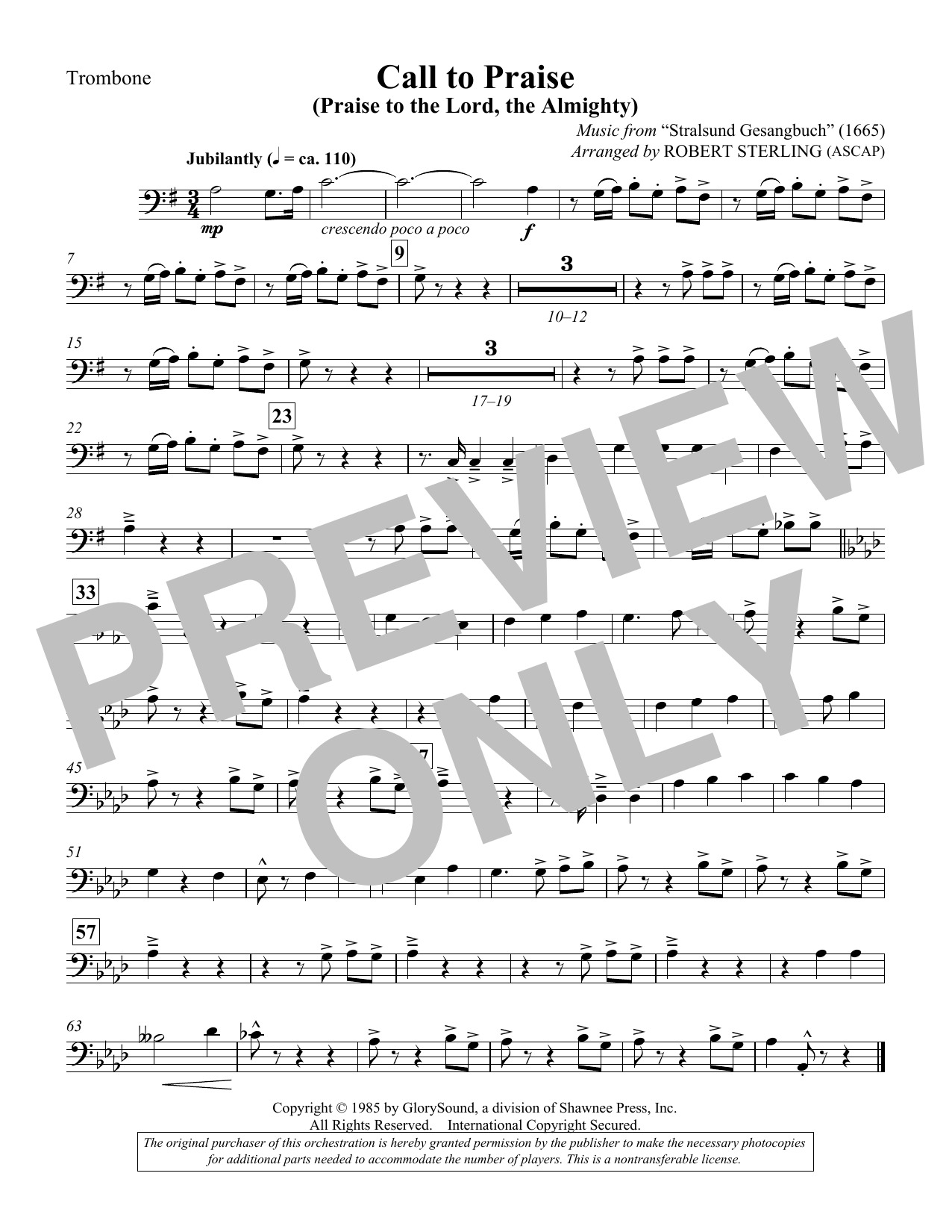 Call To Praise (Praise To The Lord, The Almighty) - Trombone Sheet Music