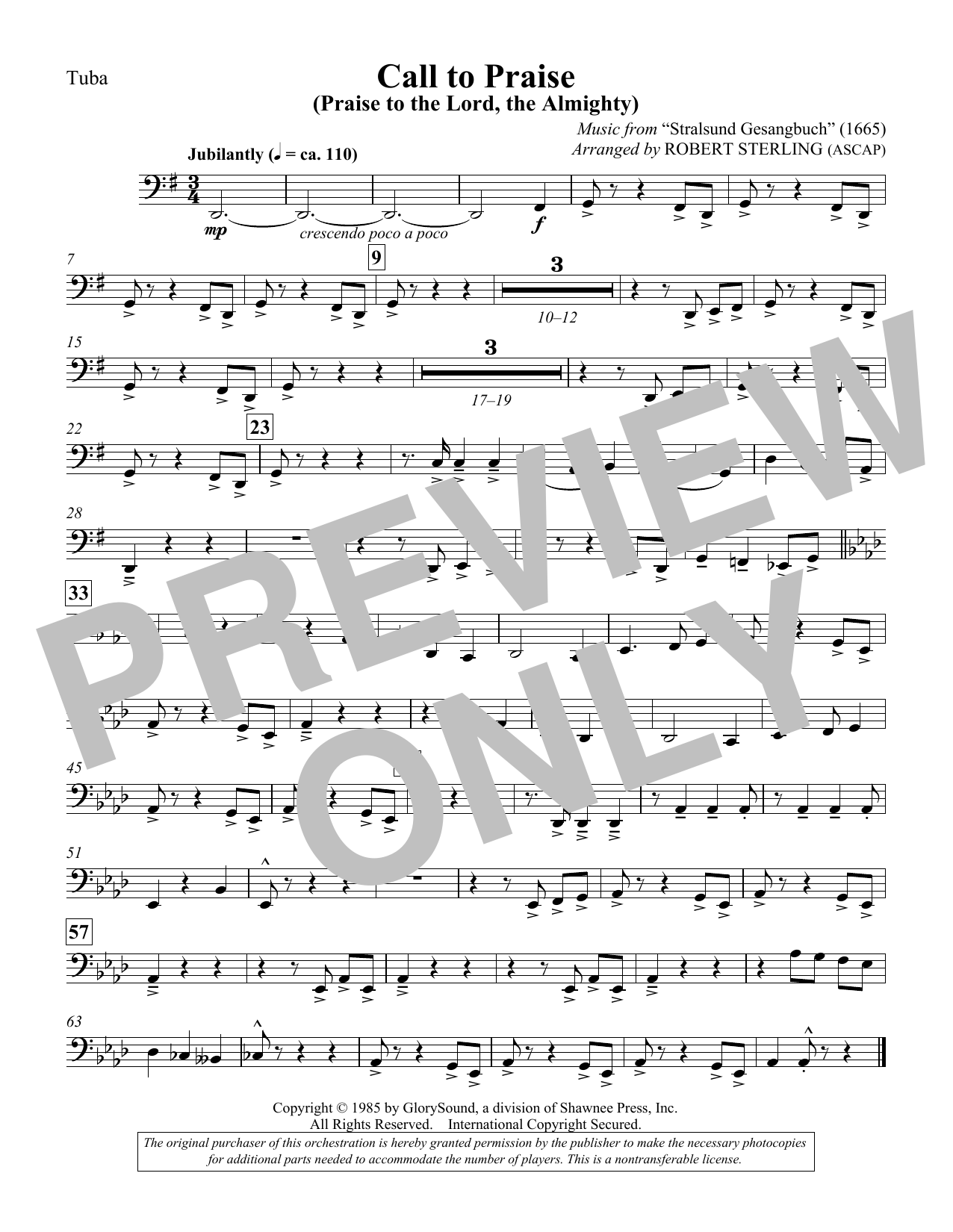 Call To Praise (Praise To The Lord, The Almighty) - Tuba (Choir Instrumental Pak)