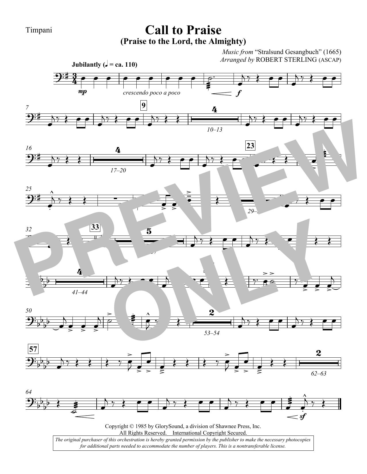 Call To Praise (Praise To The Lord, The Almighty) - Timpani (Choir Instrumental Pak)