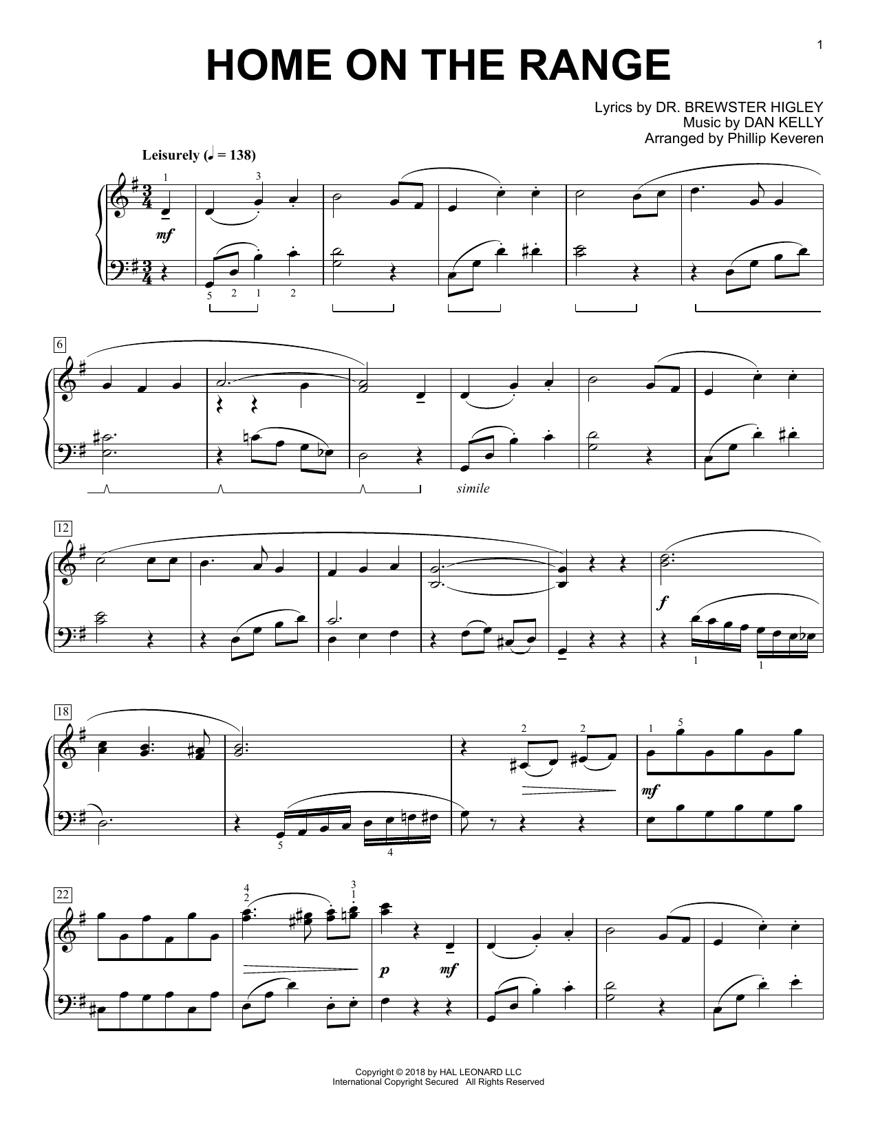 Home On The Range [Classical version] (arr. Phillip Keveren) (Piano Solo)
