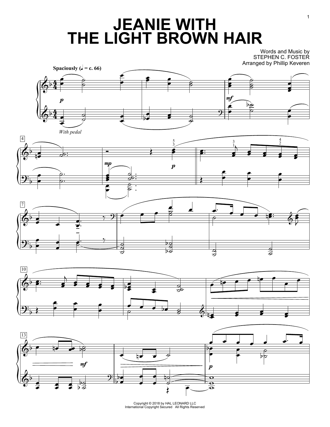 Jeanie With The Light Brown Hair [Classical version] (arr. Phillip Keveren) (Piano Solo)