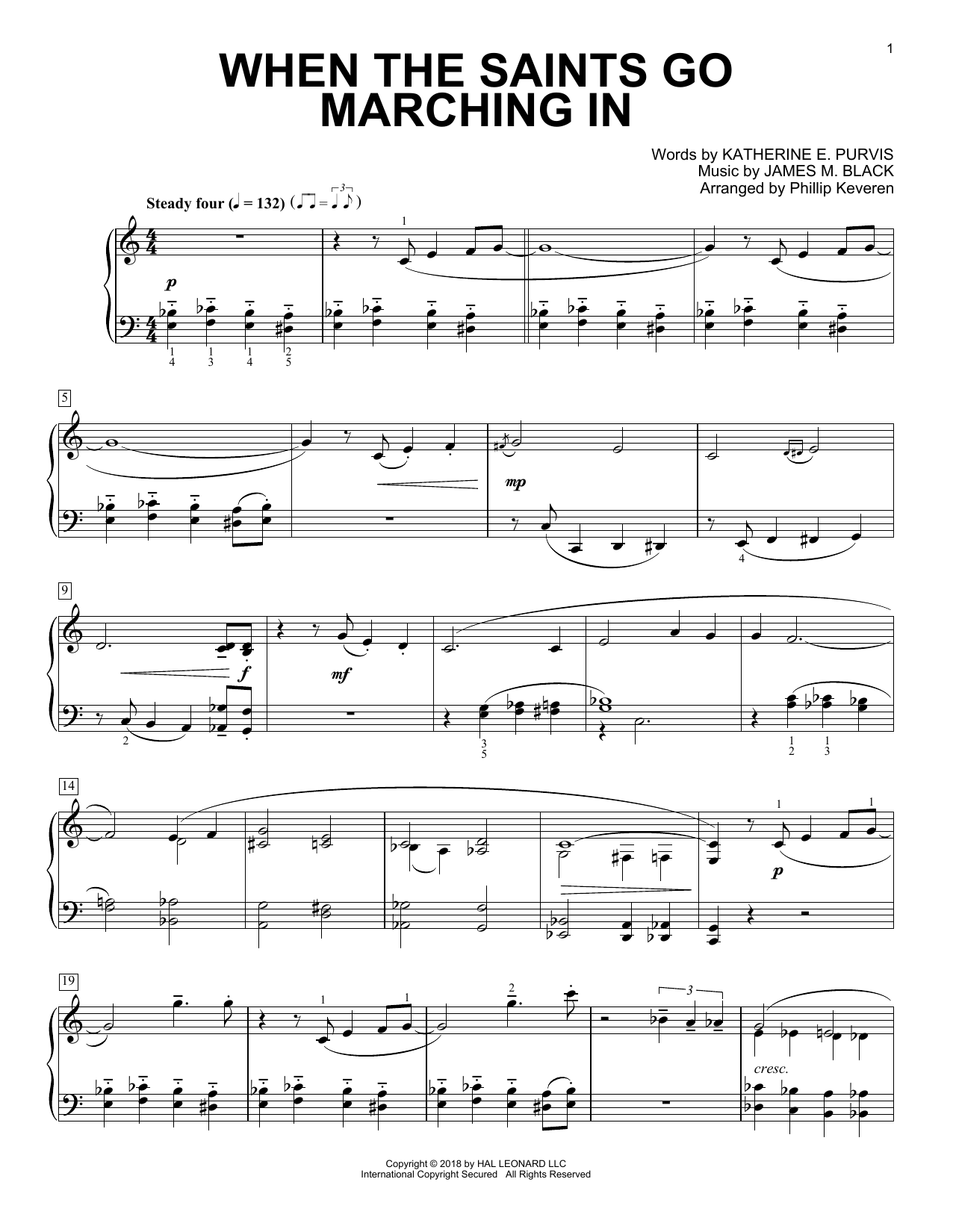 When The Saints Go Marching In [Classical version] (arr. Phillip Keveren) (Piano Solo)