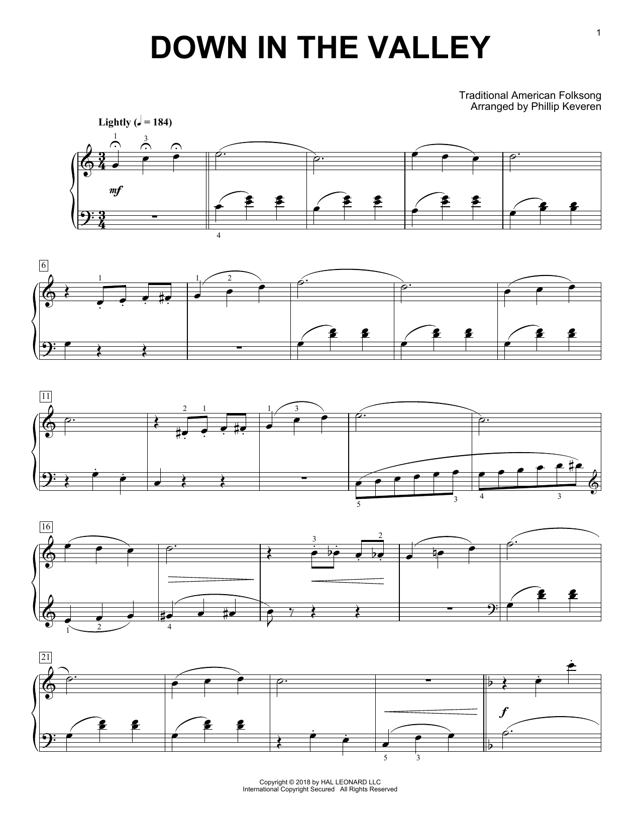 Down In The Valley [Classical version] (arr. Phillip Keveren) (Piano Solo)