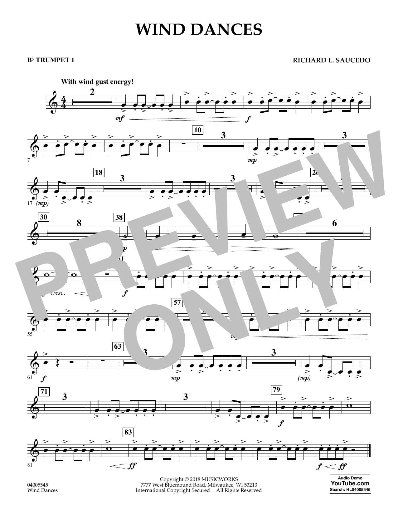 Wind Dances - Bb Trumpet 1 (Concert Band)