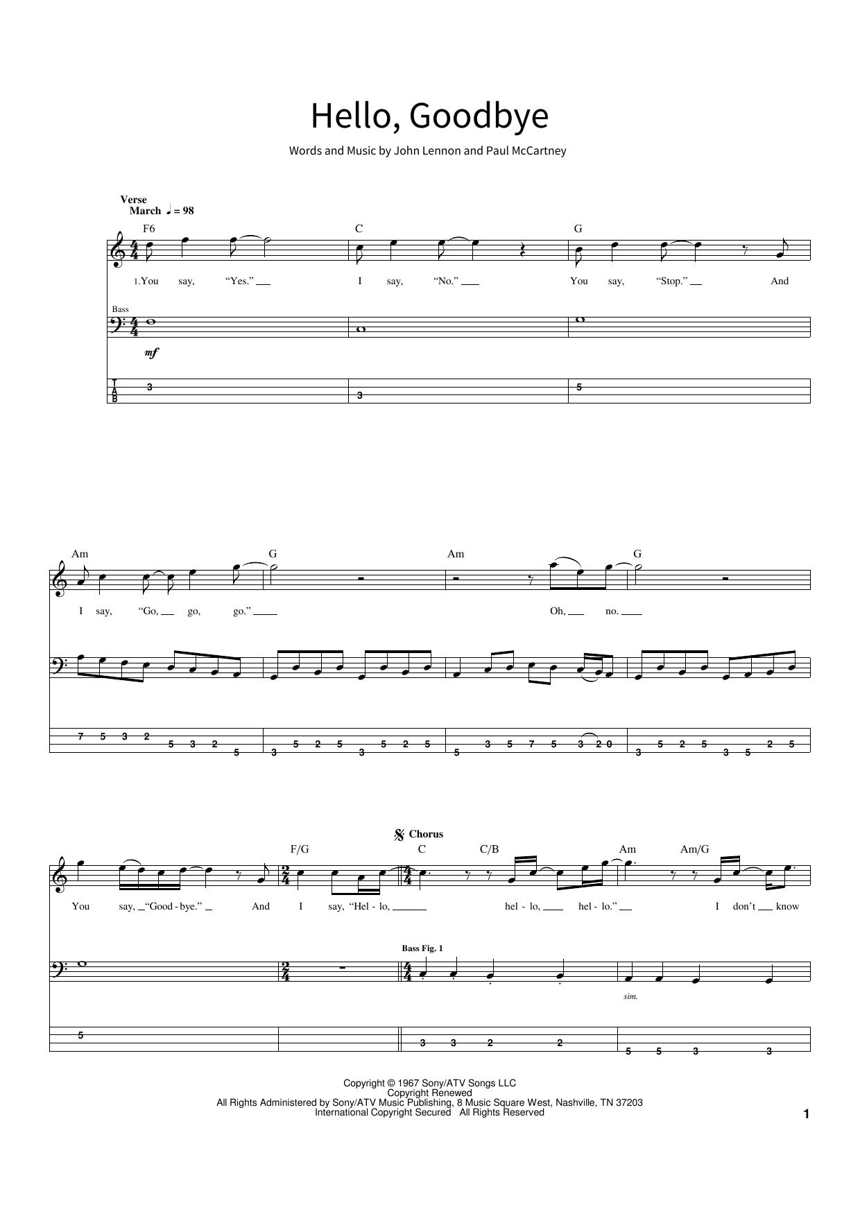 Hello, Goodbye (School of Rock – Bass Guitar)