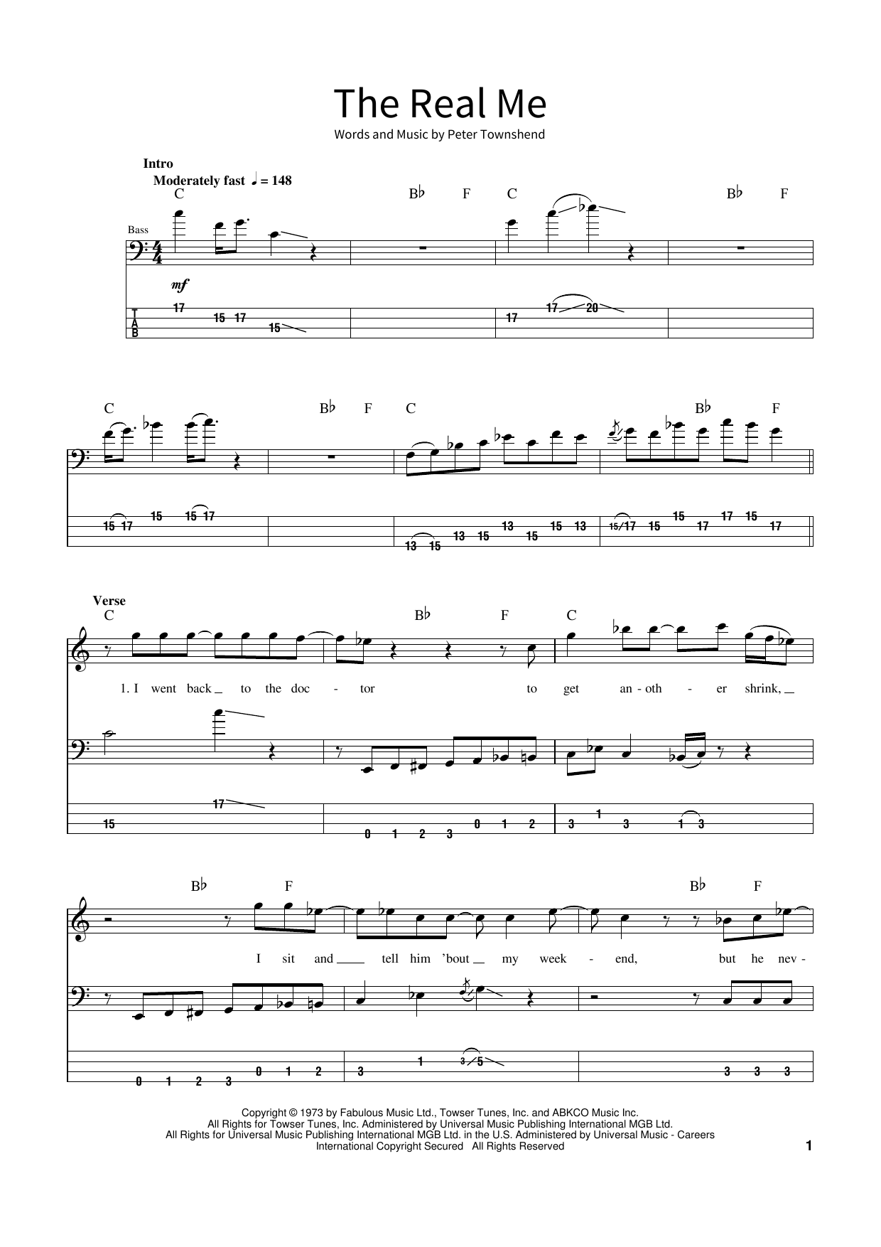 The Real Me Sheet Music