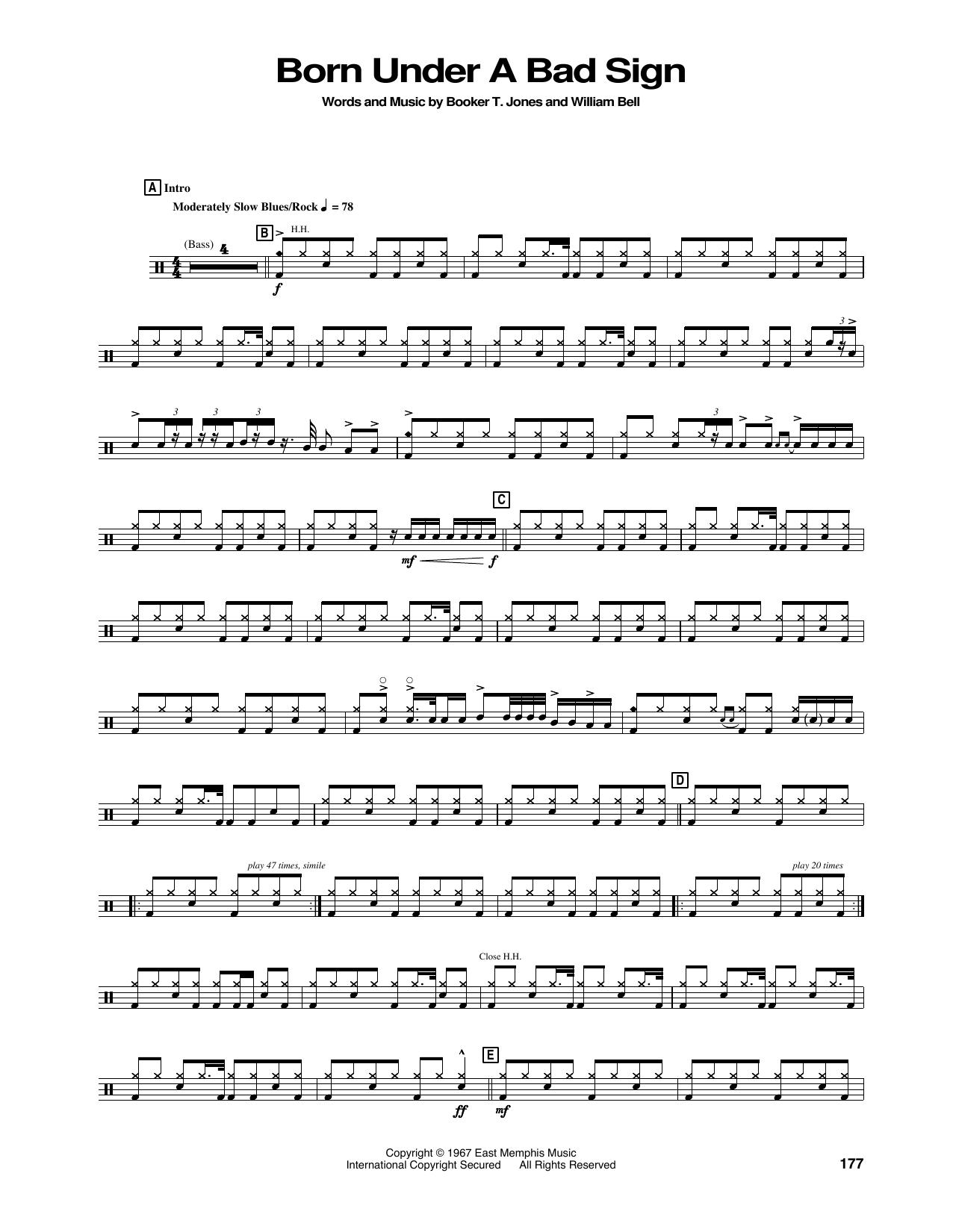 Born Under A Bad Sign (Drums Transcription)