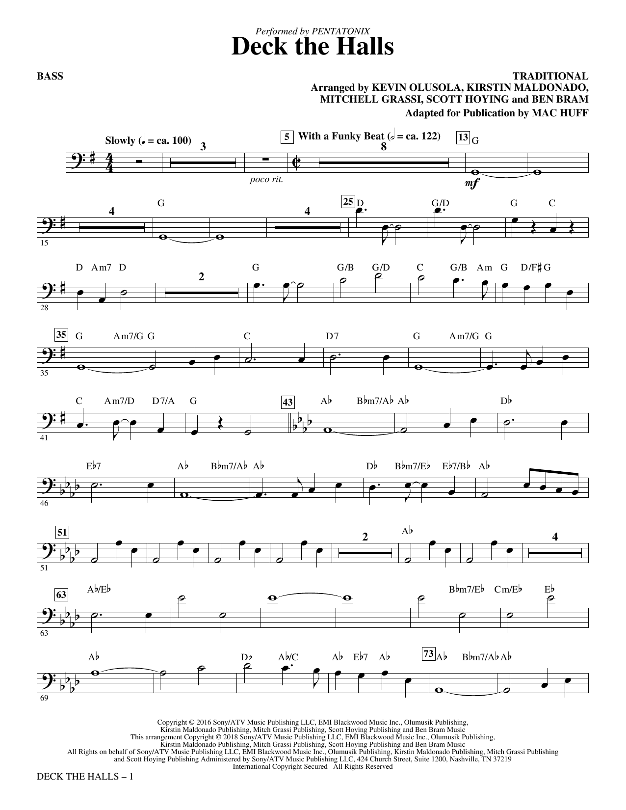 Deck the Halls - Bass (Choir Instrumental Pak)