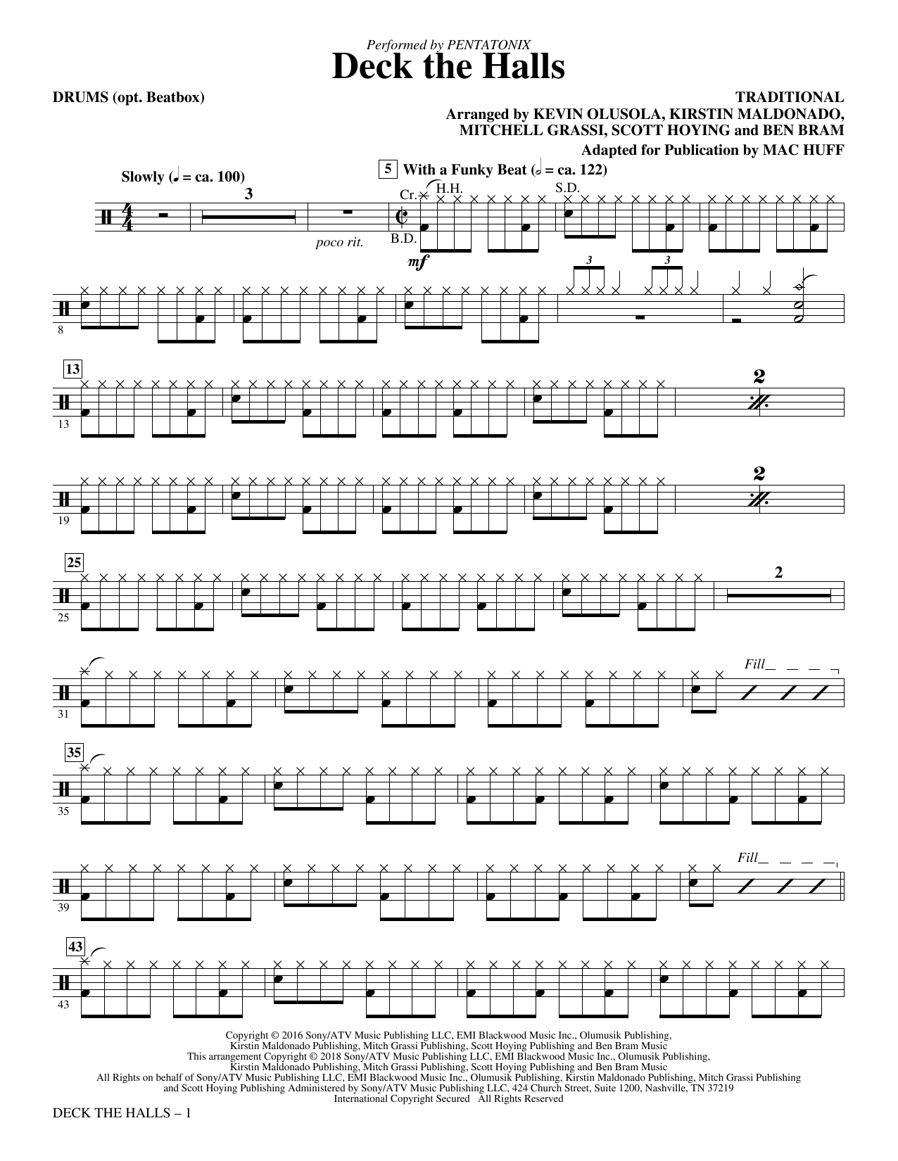 Deck the Halls - Drums (Choir Instrumental Pak)