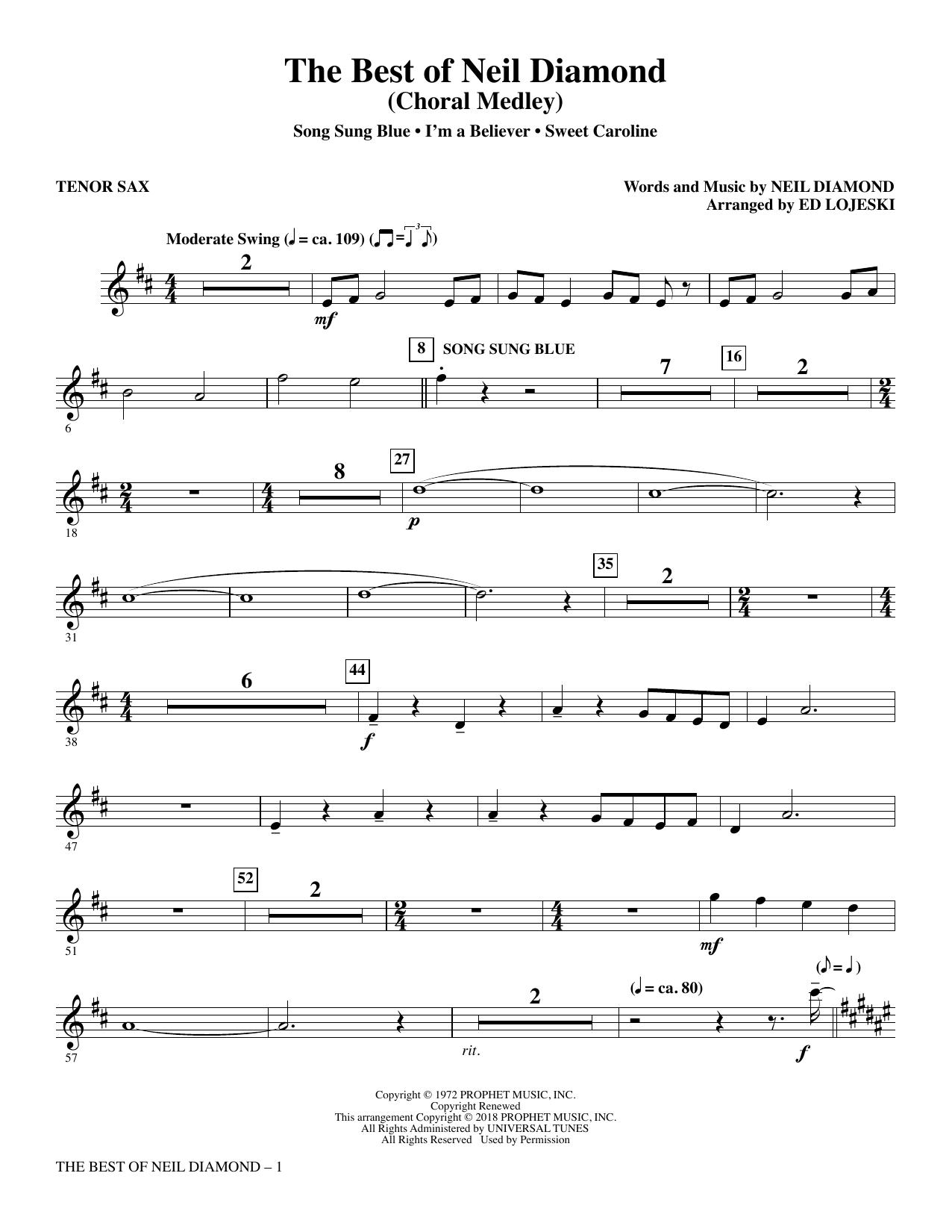 The Best of Neil Diamond - Tenor Sax (Choir Instrumental Pak)