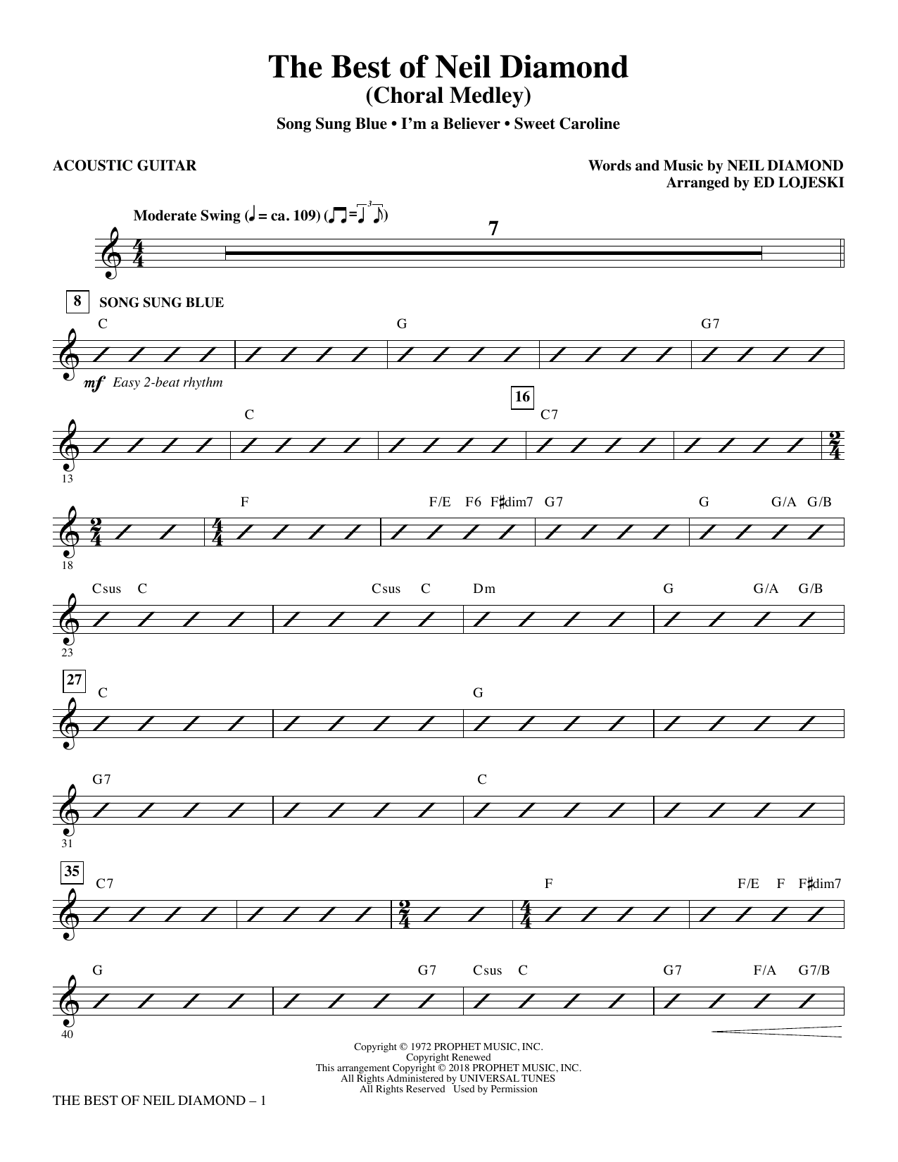 The Best of Neil Diamond - Acoustic Guitar (Choir Instrumental Pak)