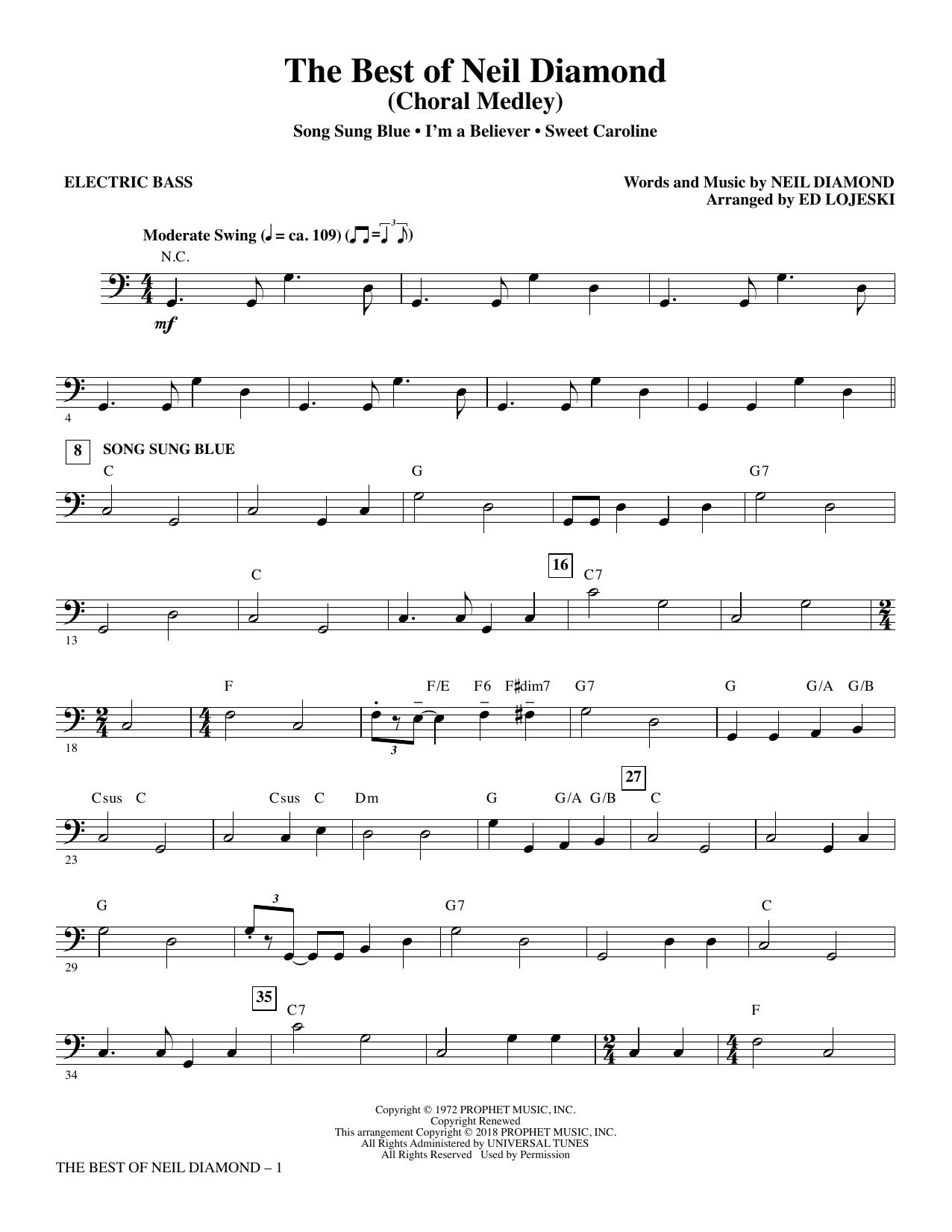 The Best of Neil Diamond - Electric Bass (Choir Instrumental Pak)