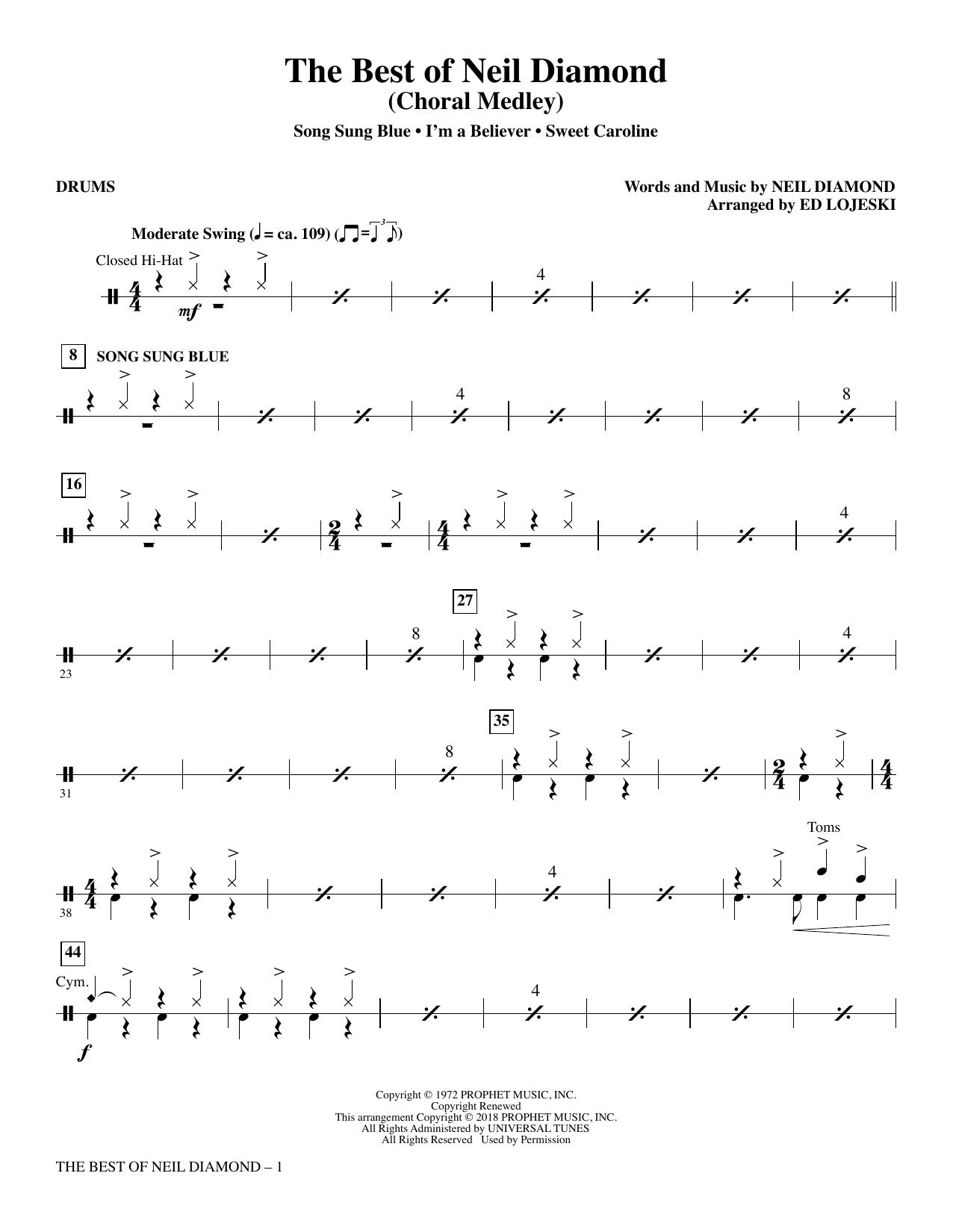 The Best of Neil Diamond - Drums (Choir Instrumental Pak)