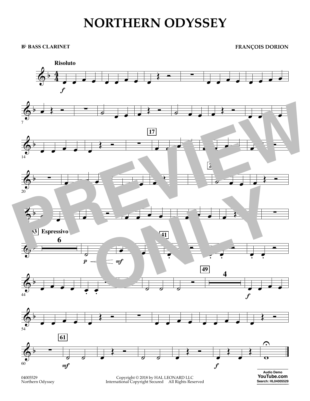 Northern Odyssey - Bb Bass Clarinet (Concert Band)