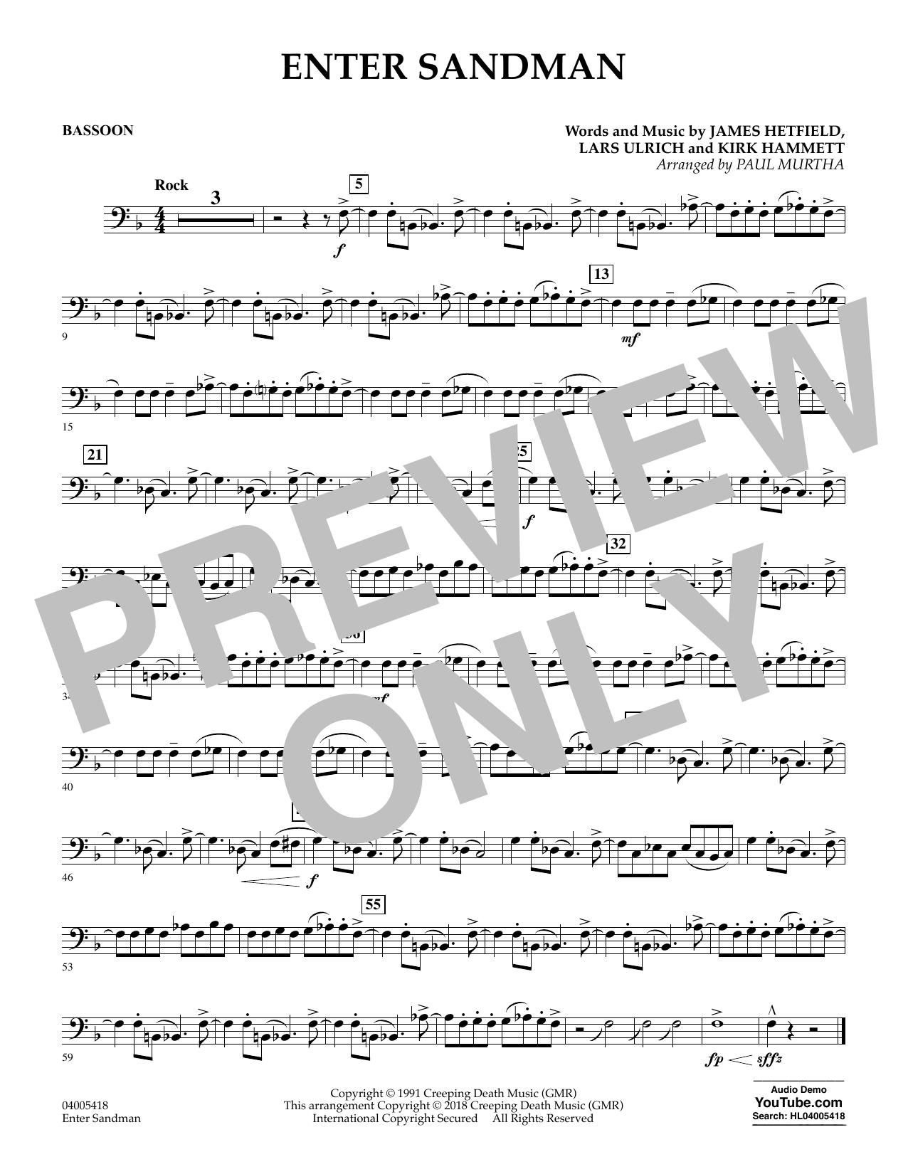 Enter Sandman - Bassoon (Concert Band)