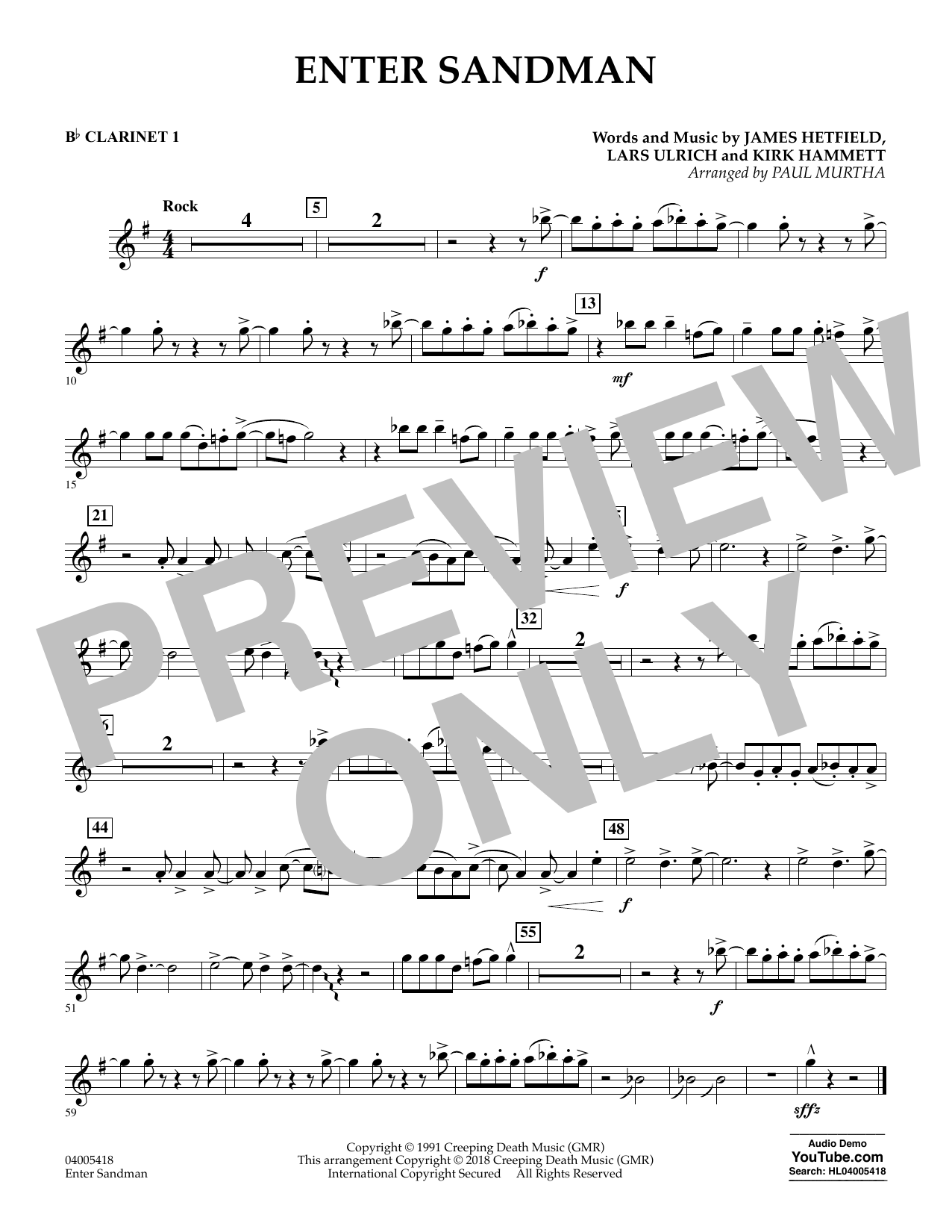 Enter Sandman - Bb Clarinet 1 (Concert Band)