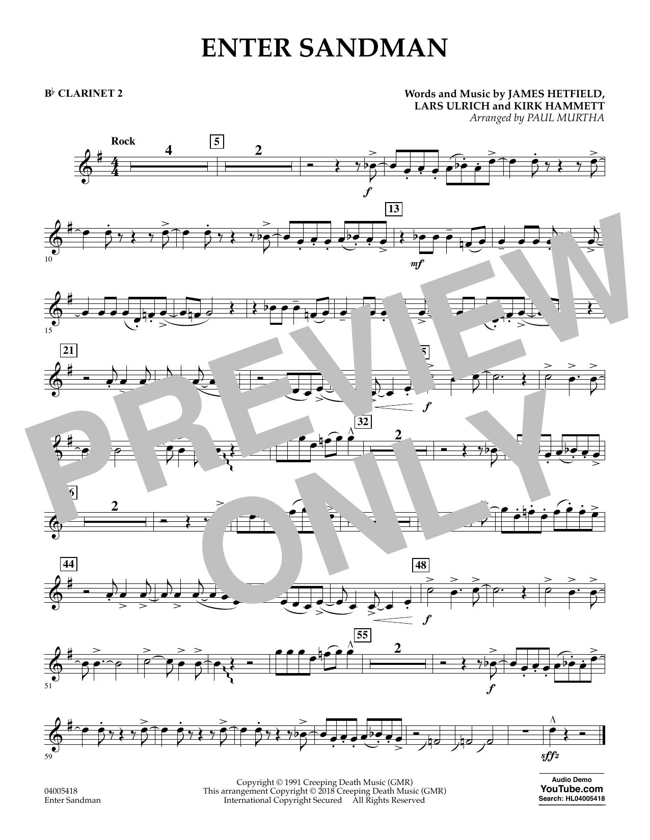 Enter Sandman - Bb Clarinet 2 (Concert Band)