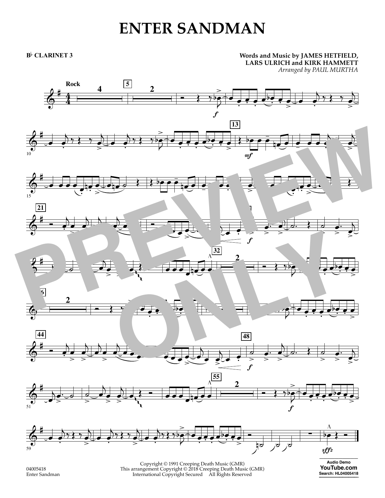Enter Sandman - Bb Clarinet 3 (Concert Band)