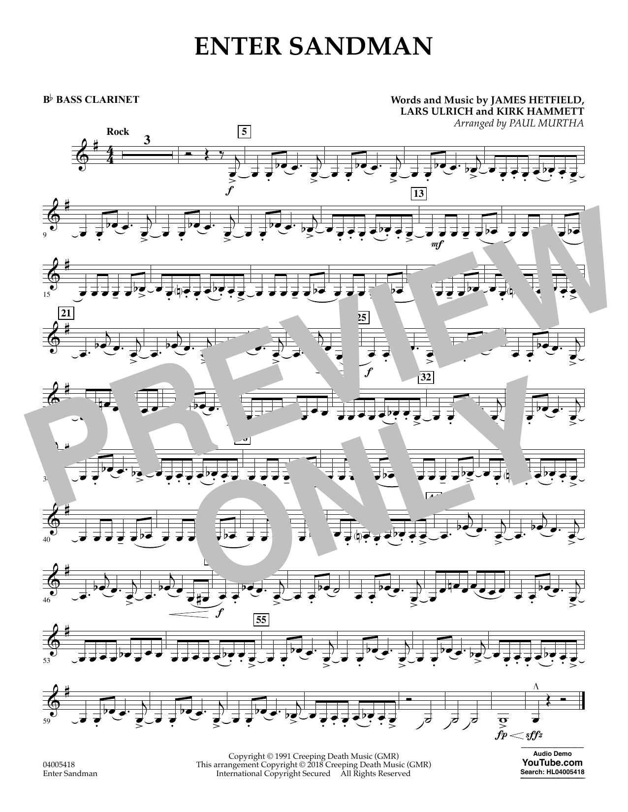 Enter Sandman - Bb Bass Clarinet (Concert Band)