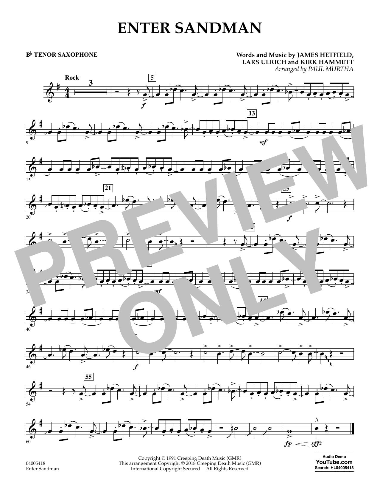 Enter Sandman - Bb Tenor Saxophone (Concert Band)
