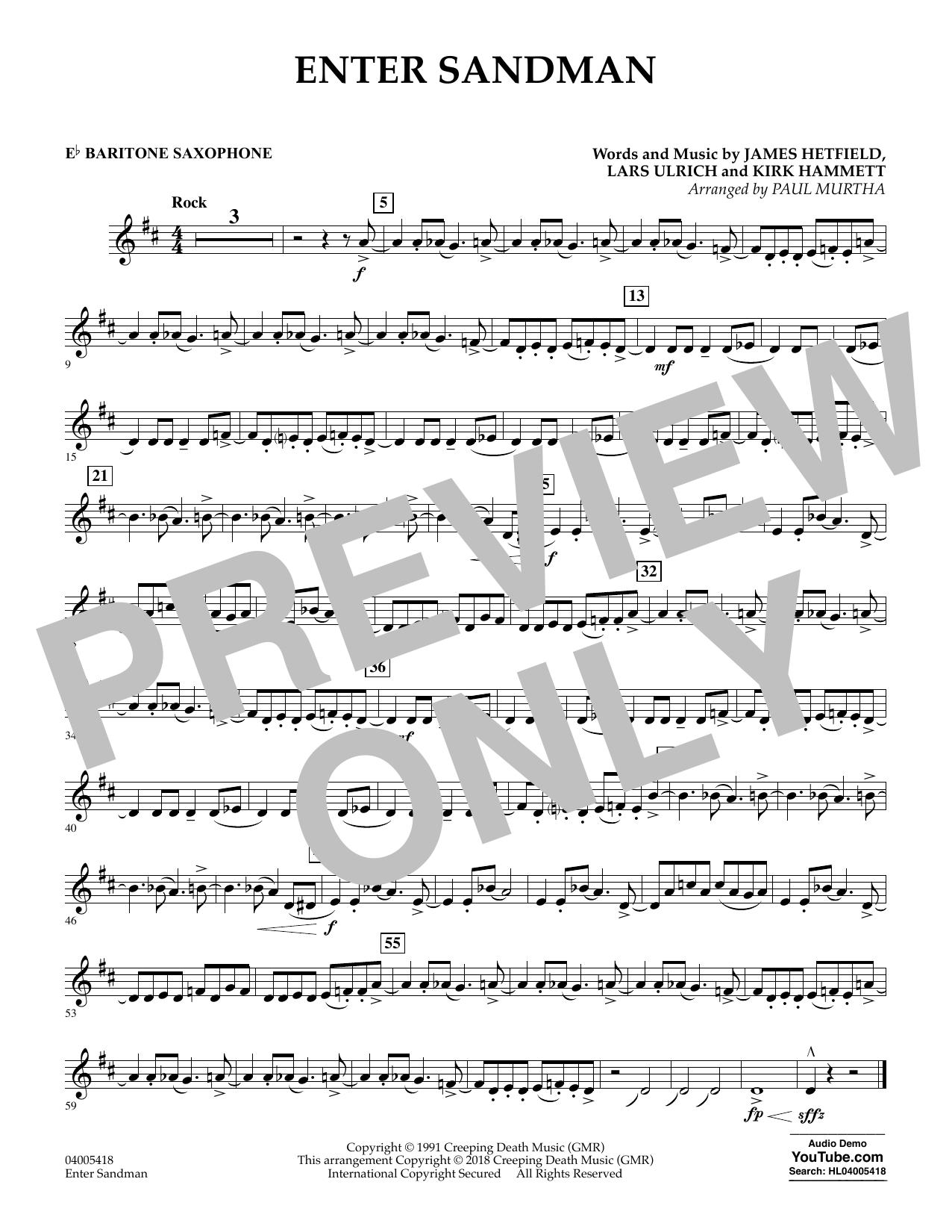 Enter Sandman - Eb Baritone Saxophone (Concert Band)