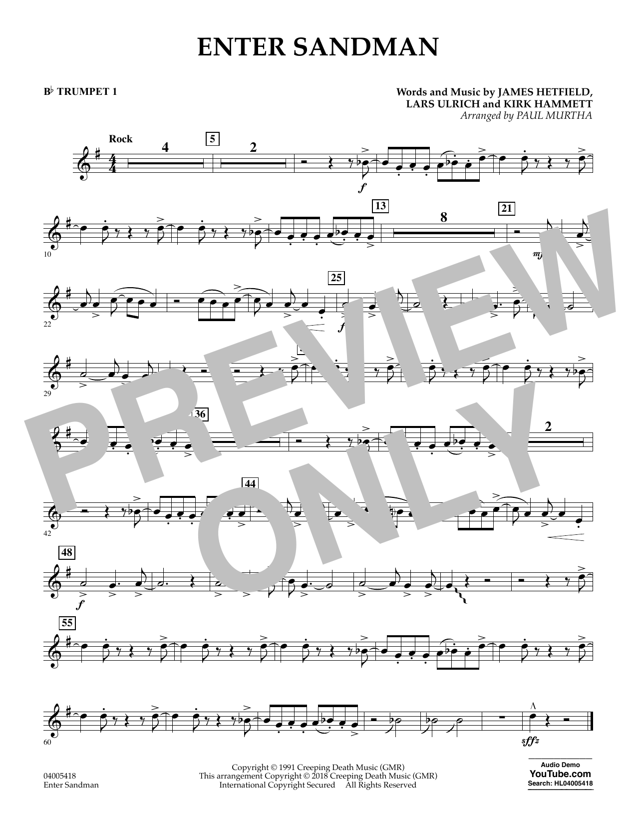 Enter Sandman - Bb Trumpet 1 (Concert Band)