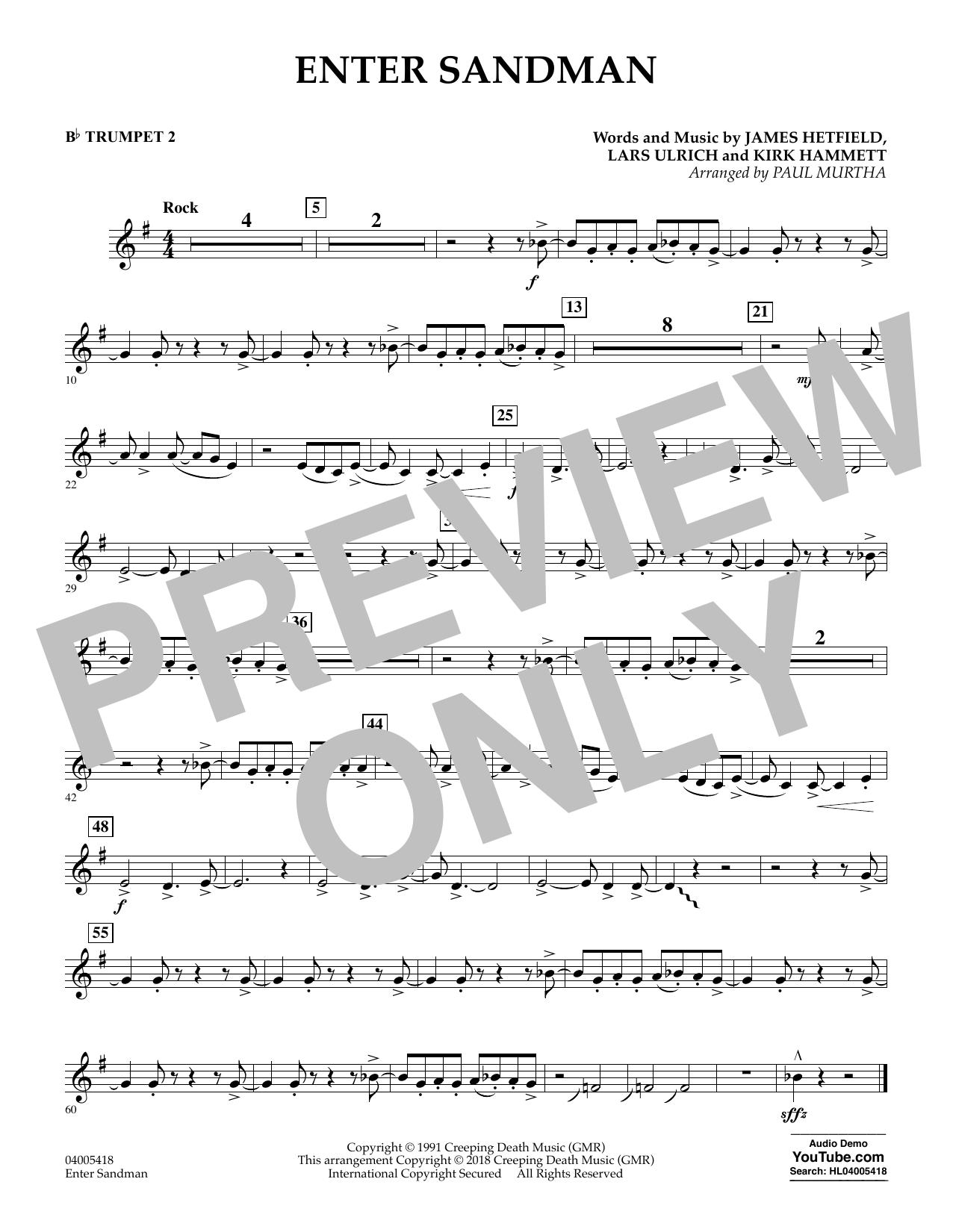 Enter Sandman - Bb Trumpet 2 (Concert Band)