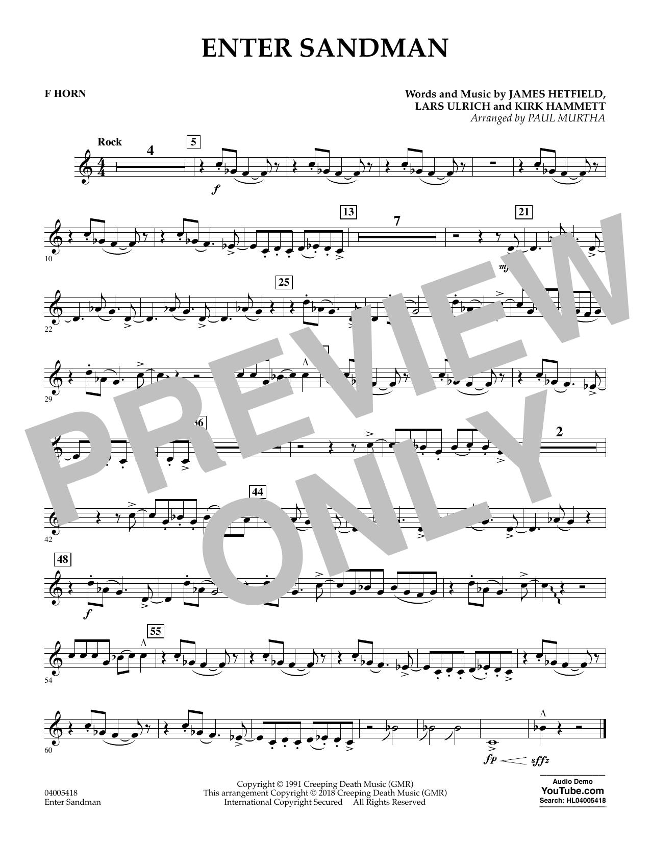 Enter Sandman - F Horn (Concert Band)